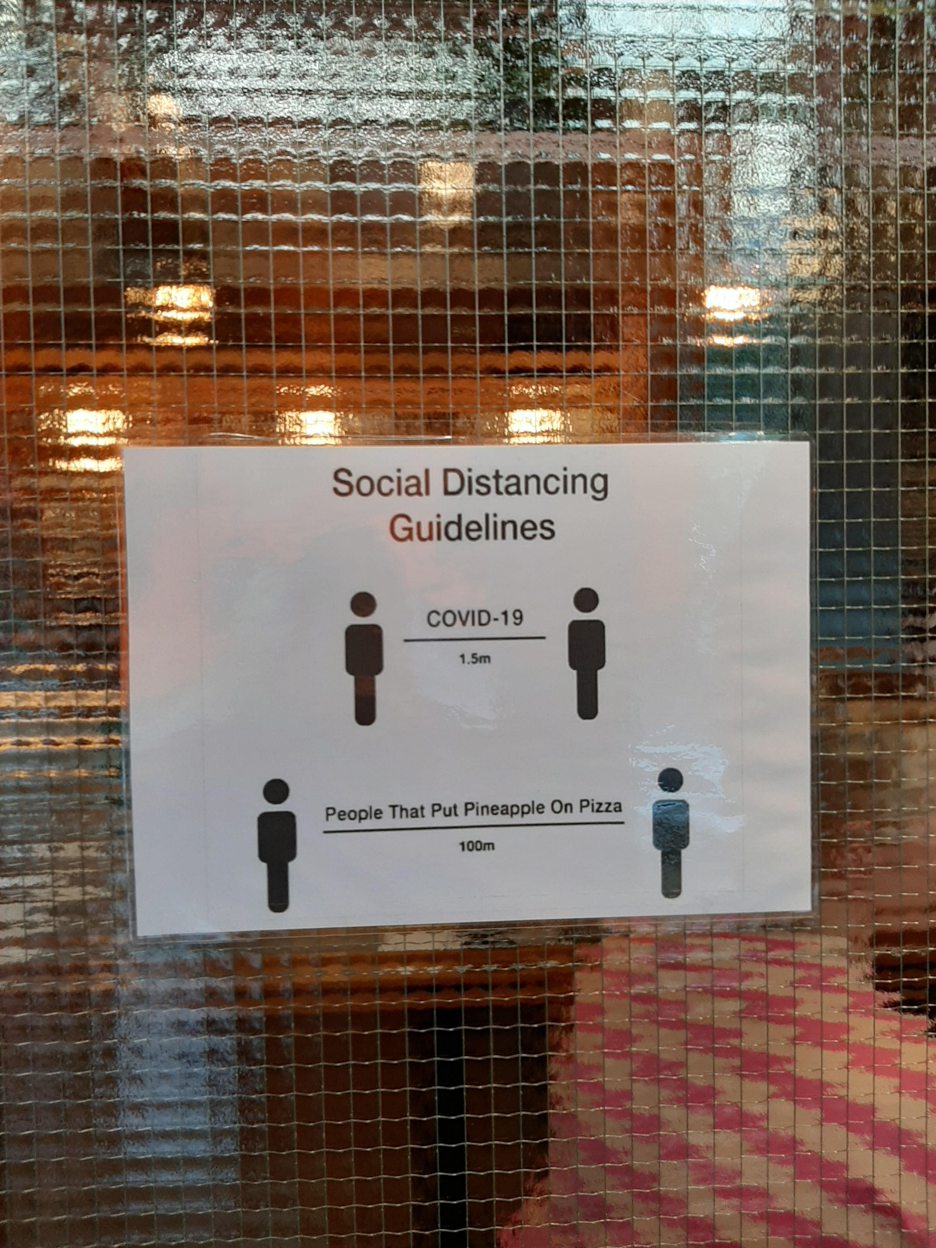 A local pizza place has strict distance rules!