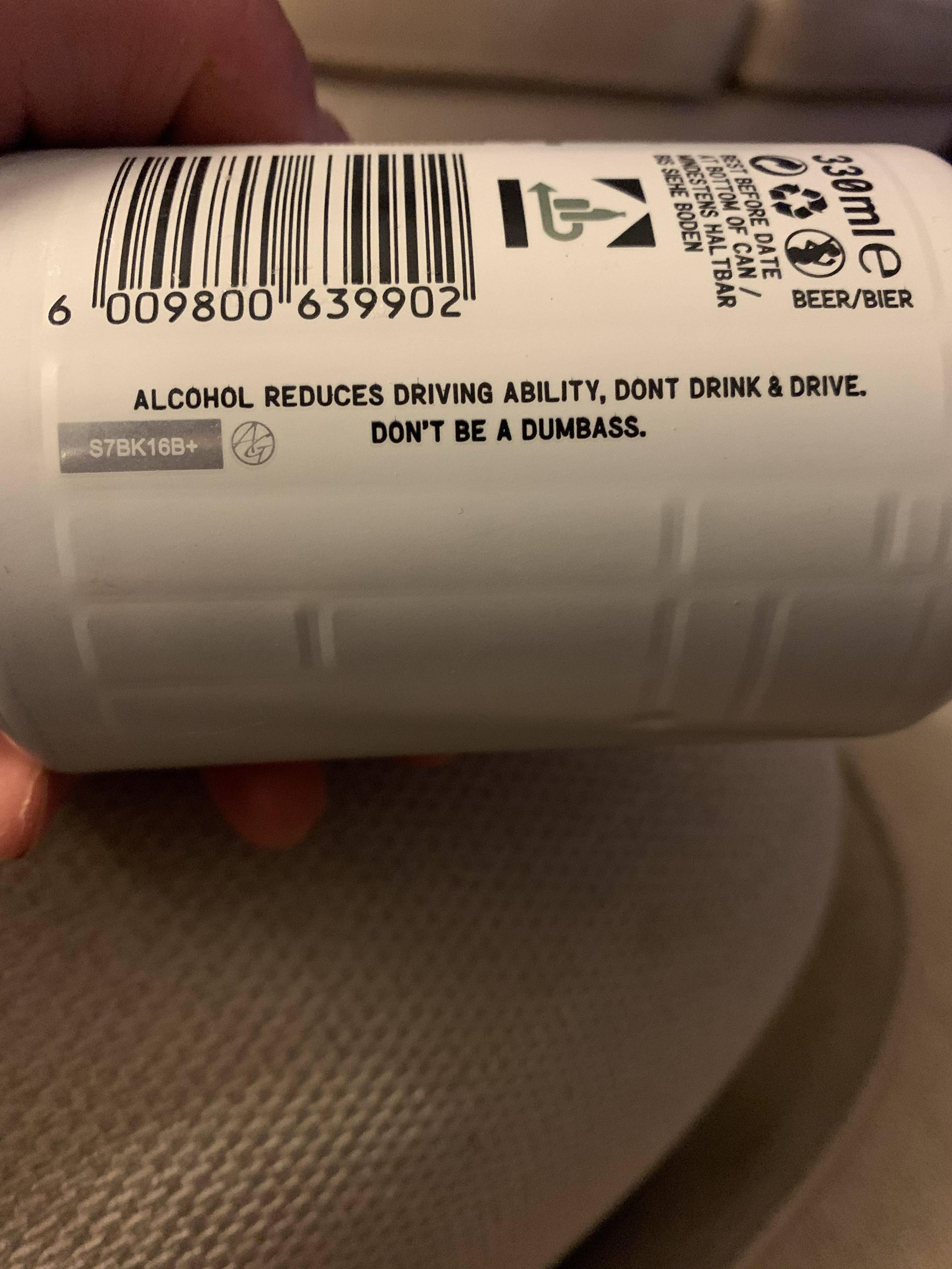 This don't drink and drive warning