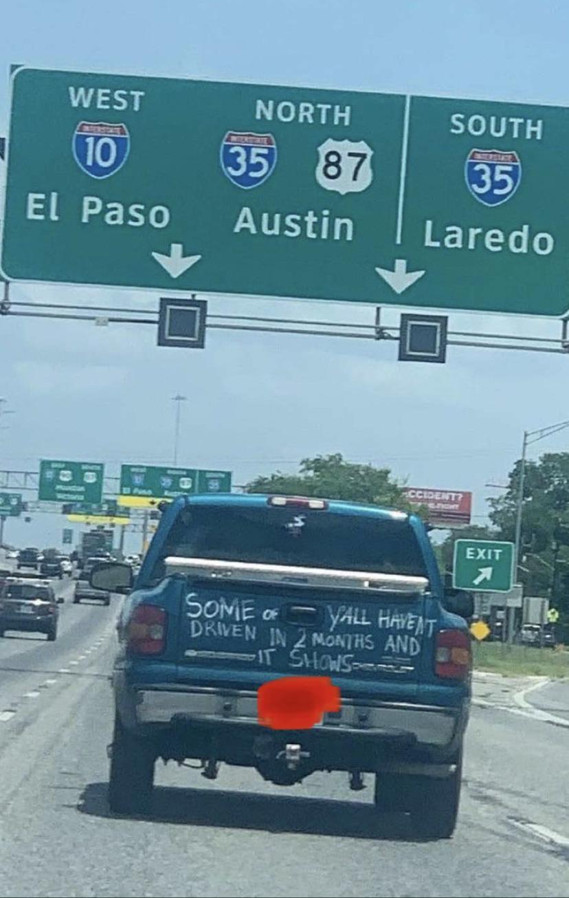 Passive aggressive driving in Texas.