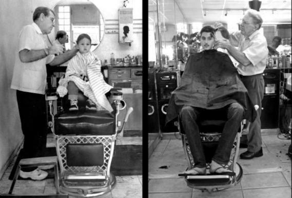 Same boy. Same barber. Same chair. Same camera budget.