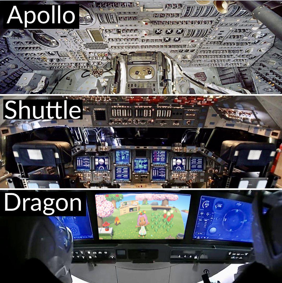 Spacecraft control panels over the years