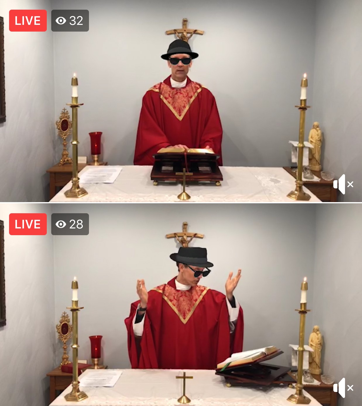 Priest accidentally live-streams mass with sunglasses and hat filter