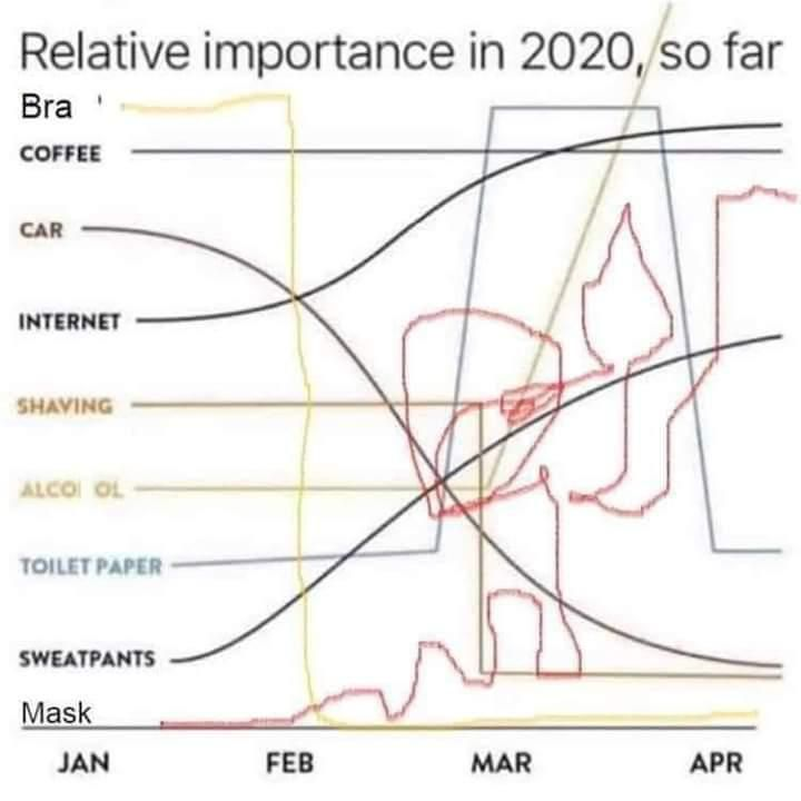 Relative importance in 2020, so far