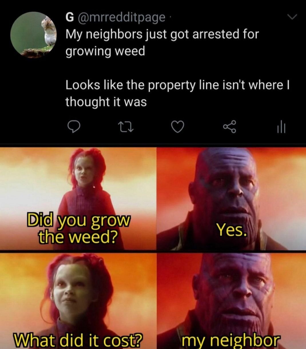 To be fair I wasn't going to call the health department for the property lines...
