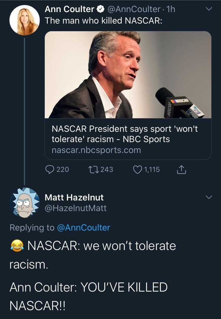 They are all professional racists driving professional races