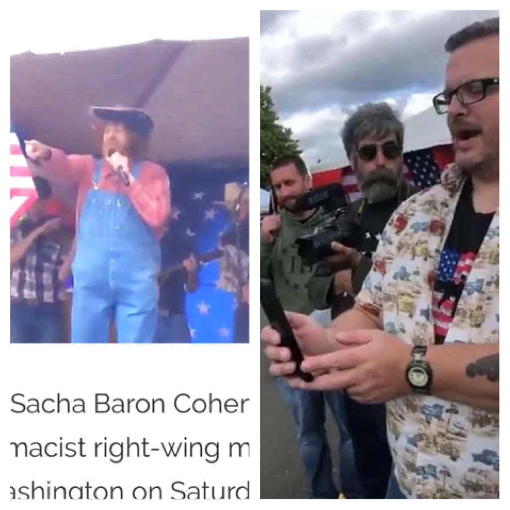 Not only did Sacha Baron Cohen troll the crowd at a right-wing event in Olympia, Washington , but he then snuck back in moments later as a reporter and filmed interviews