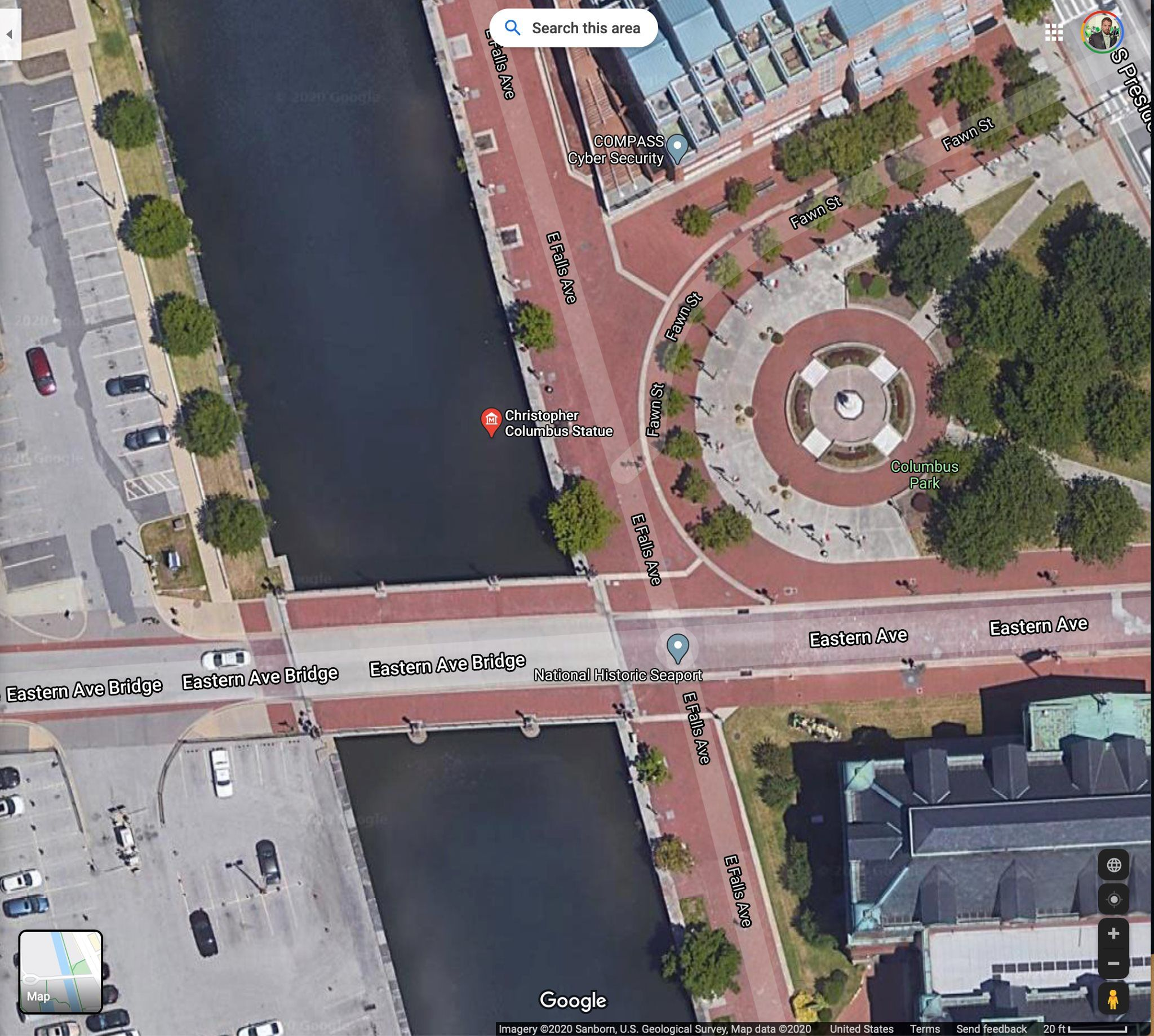 Google Maps now has Baltimore's Christopher Columbus statue pinned in the harbor.