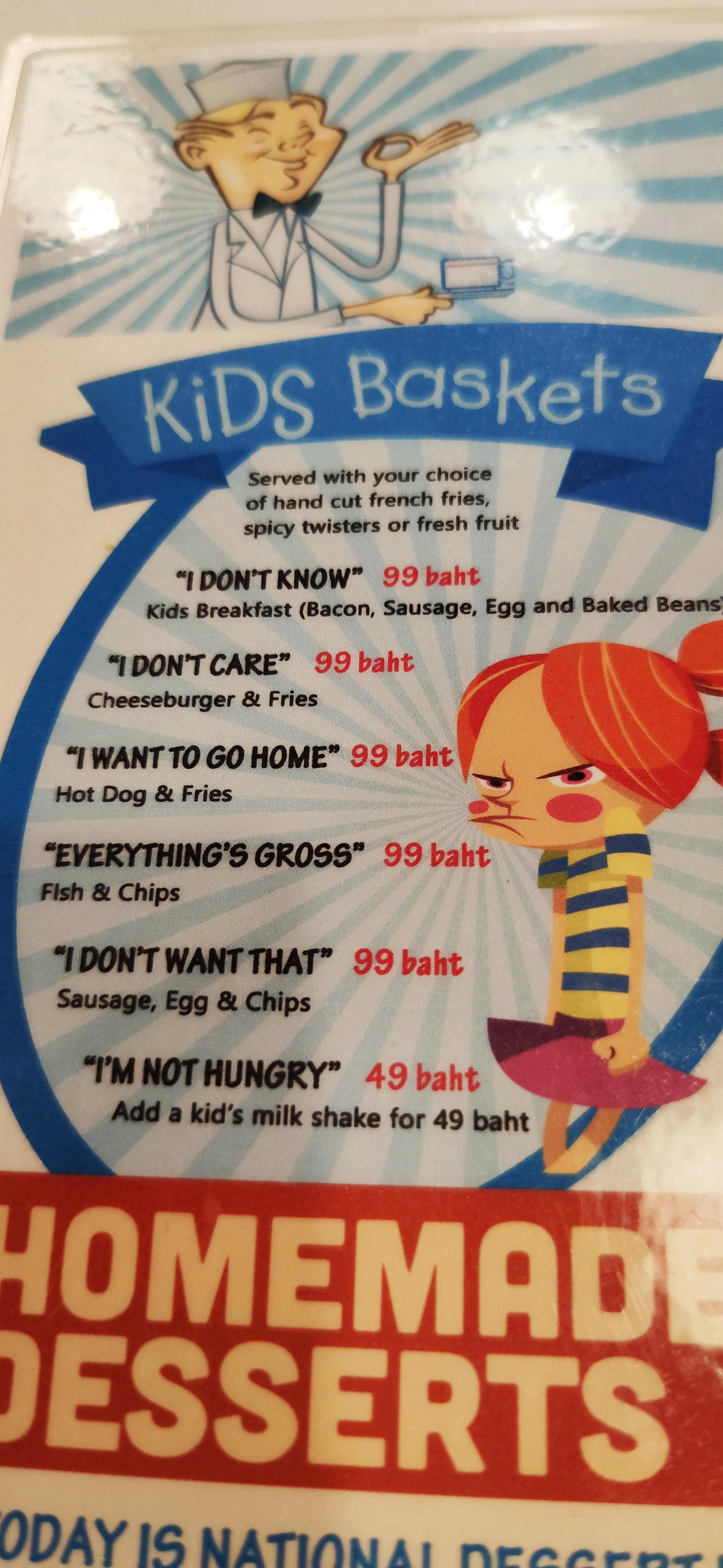 Spot on kids menu