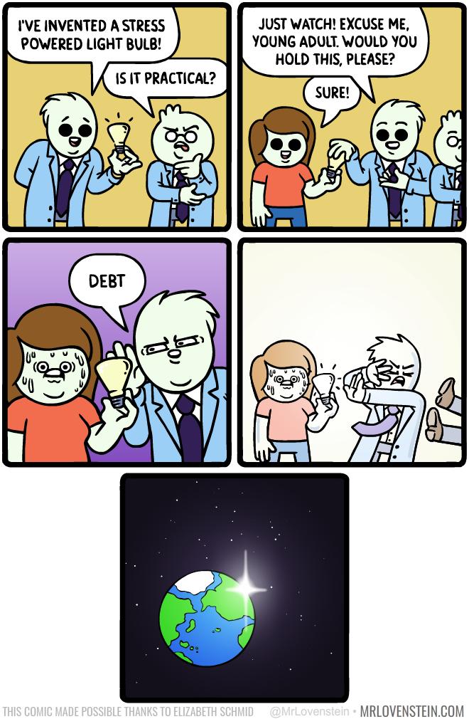 Stress powered lightbulb
