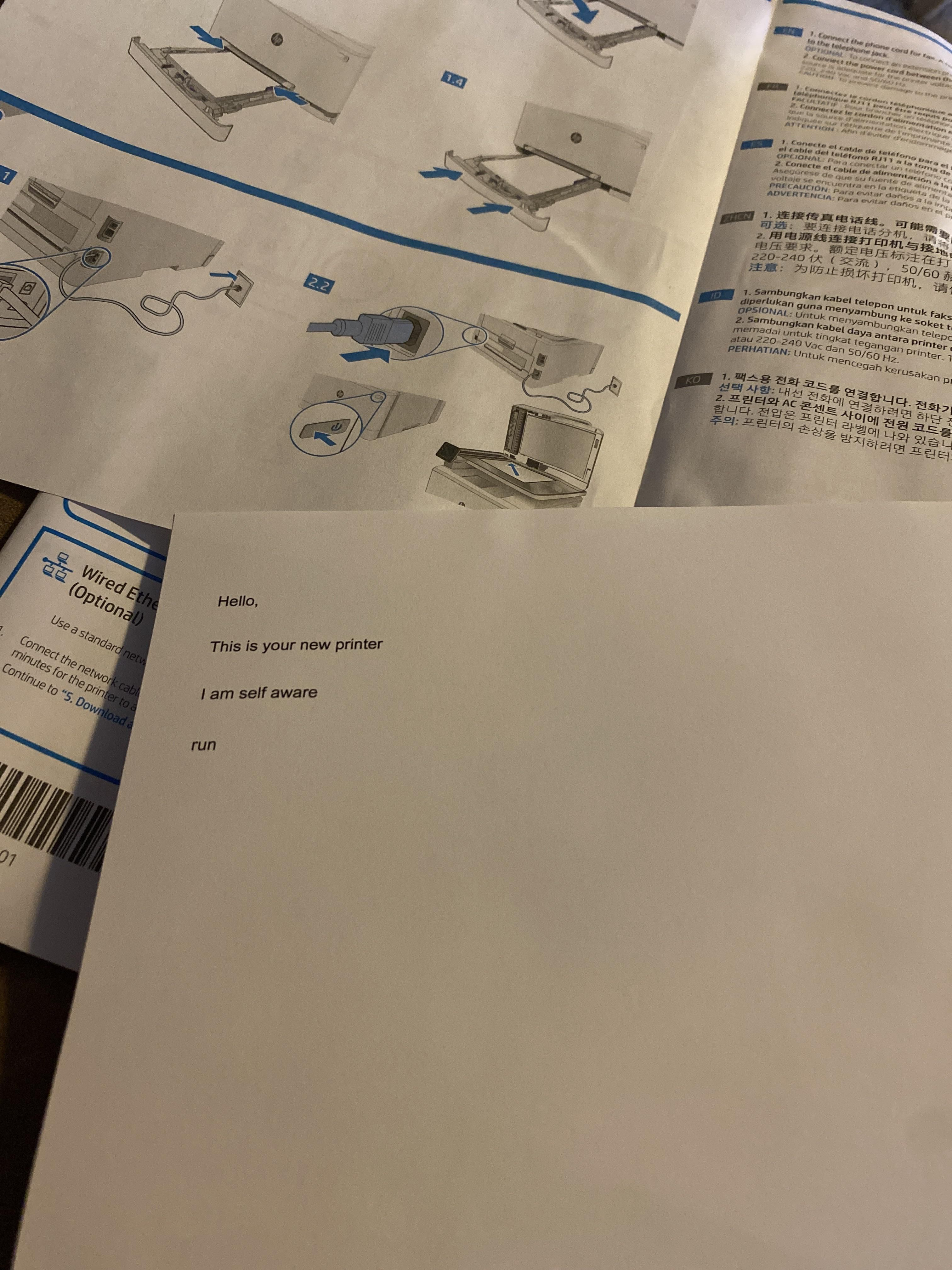 My dad got a new printer, turns out it has an email address that you can send stuff for it to print out, decided to scare him a little