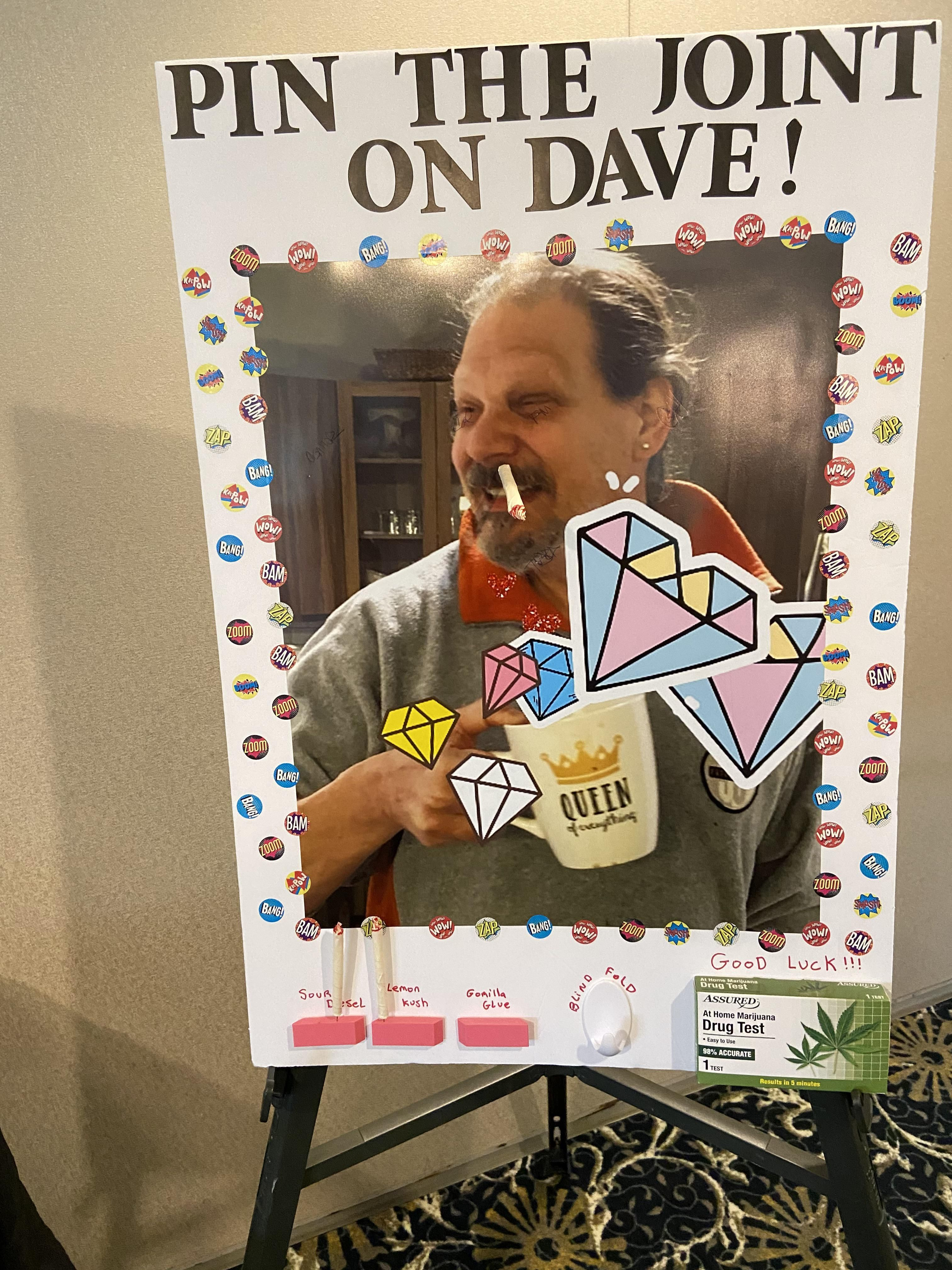 My stoner dad died two weeks ago. After his funeral, we played pin the joint on Dave, complete with his favorite strands of weed.