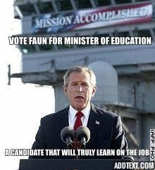 Vote Faun for the Ministry of Education. This is a campaign post. More in comments