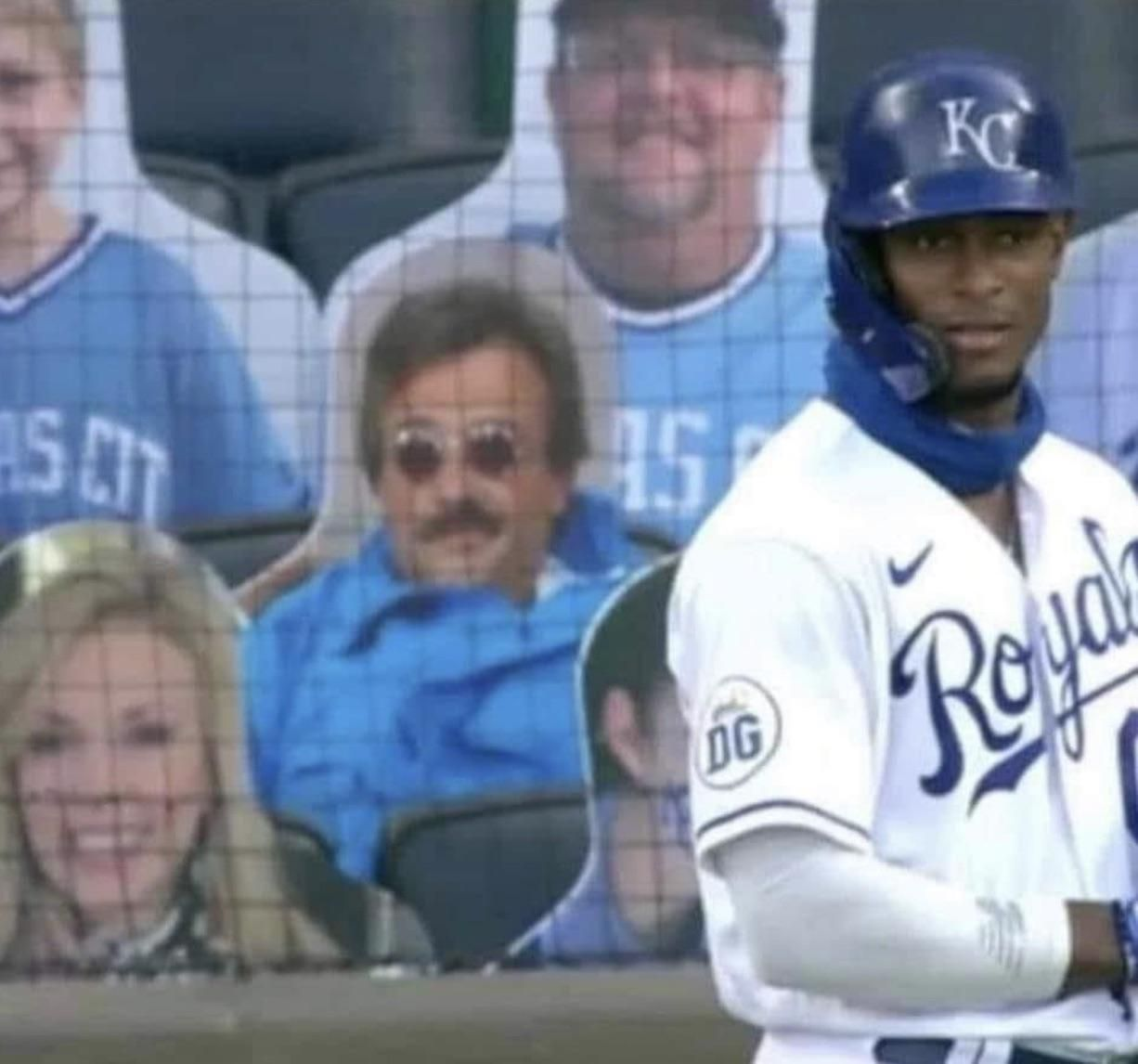 Somebody put a weekend at Bernies cardboard cutout in the stands of a baseball game, I love it.