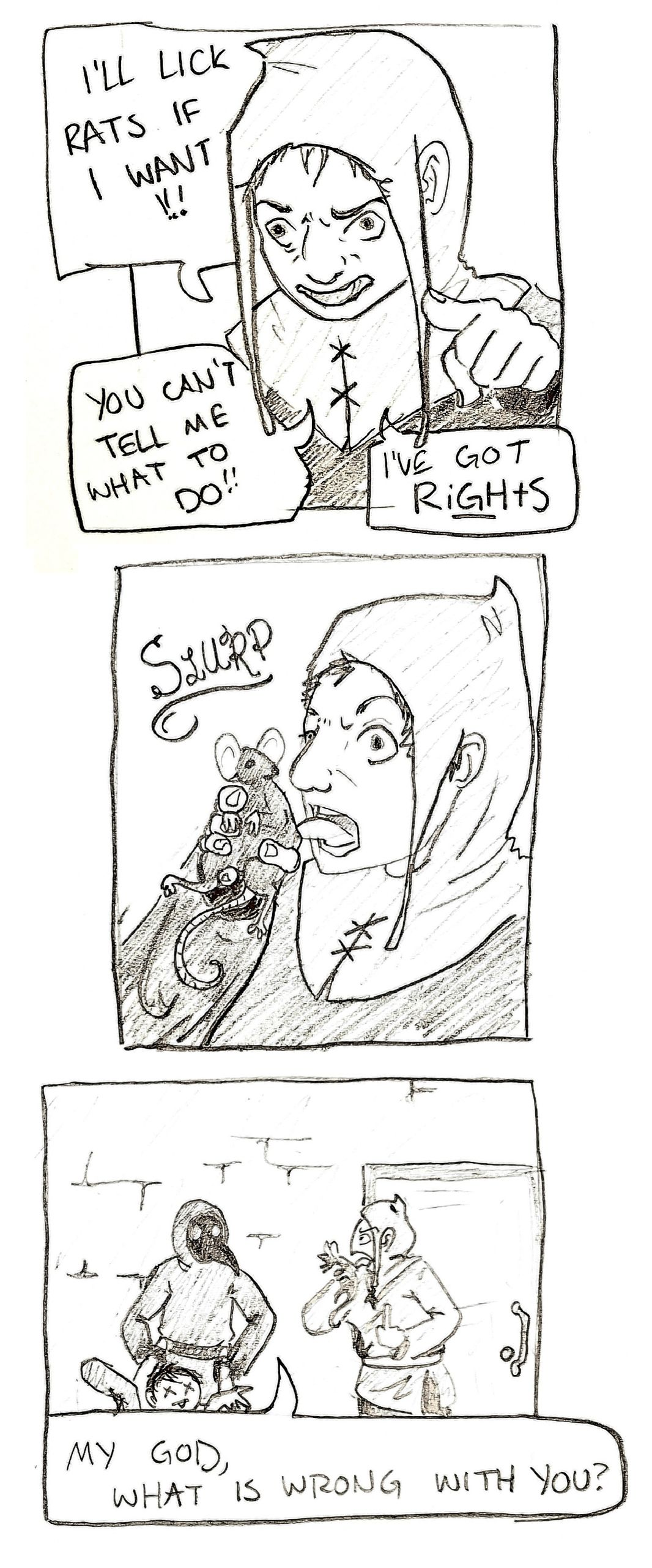 A friend told us that rat licker is slang for anti-masker in Ireland. My wife made this wonderful comic.