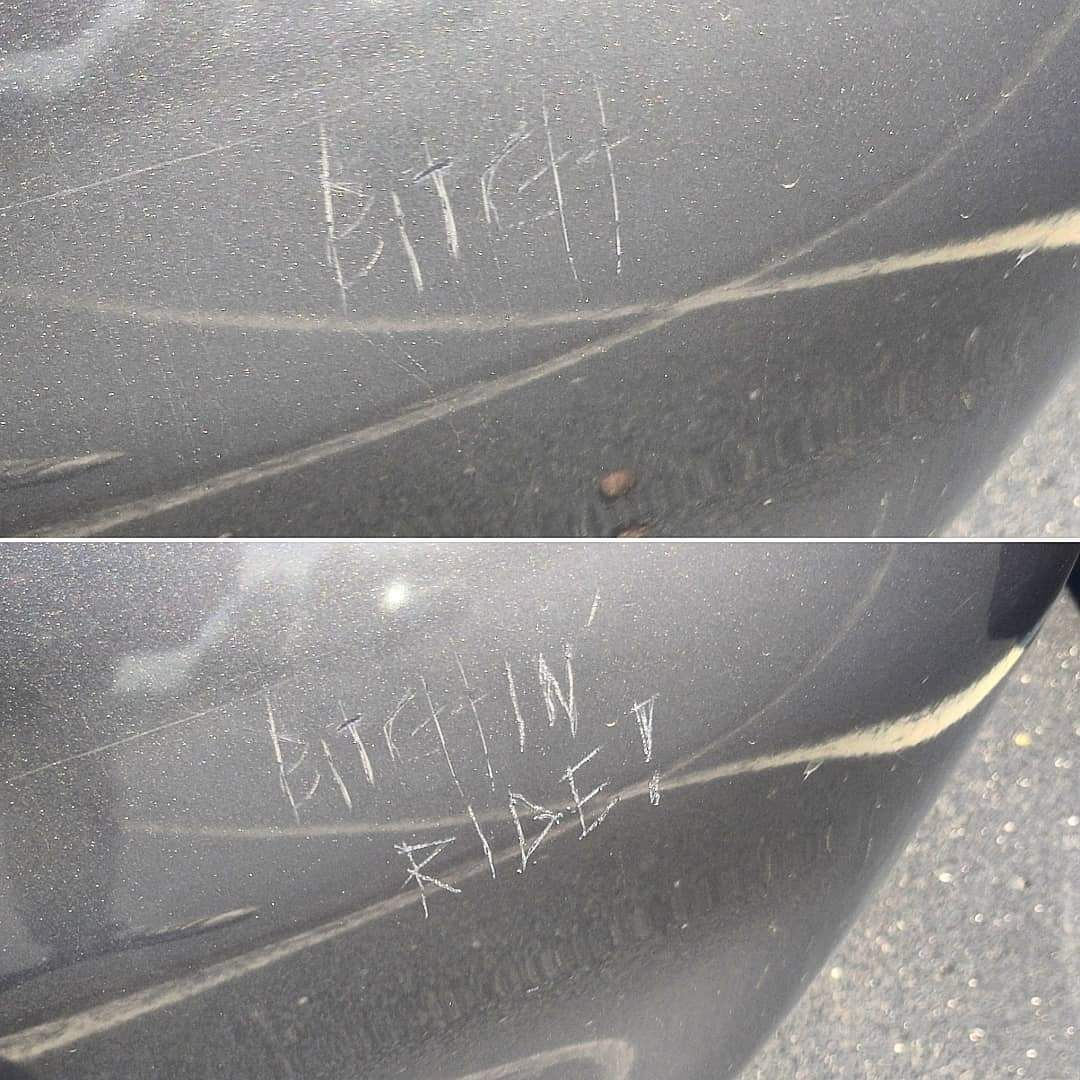 Someone keyed my buddy's car, so he corrected it.