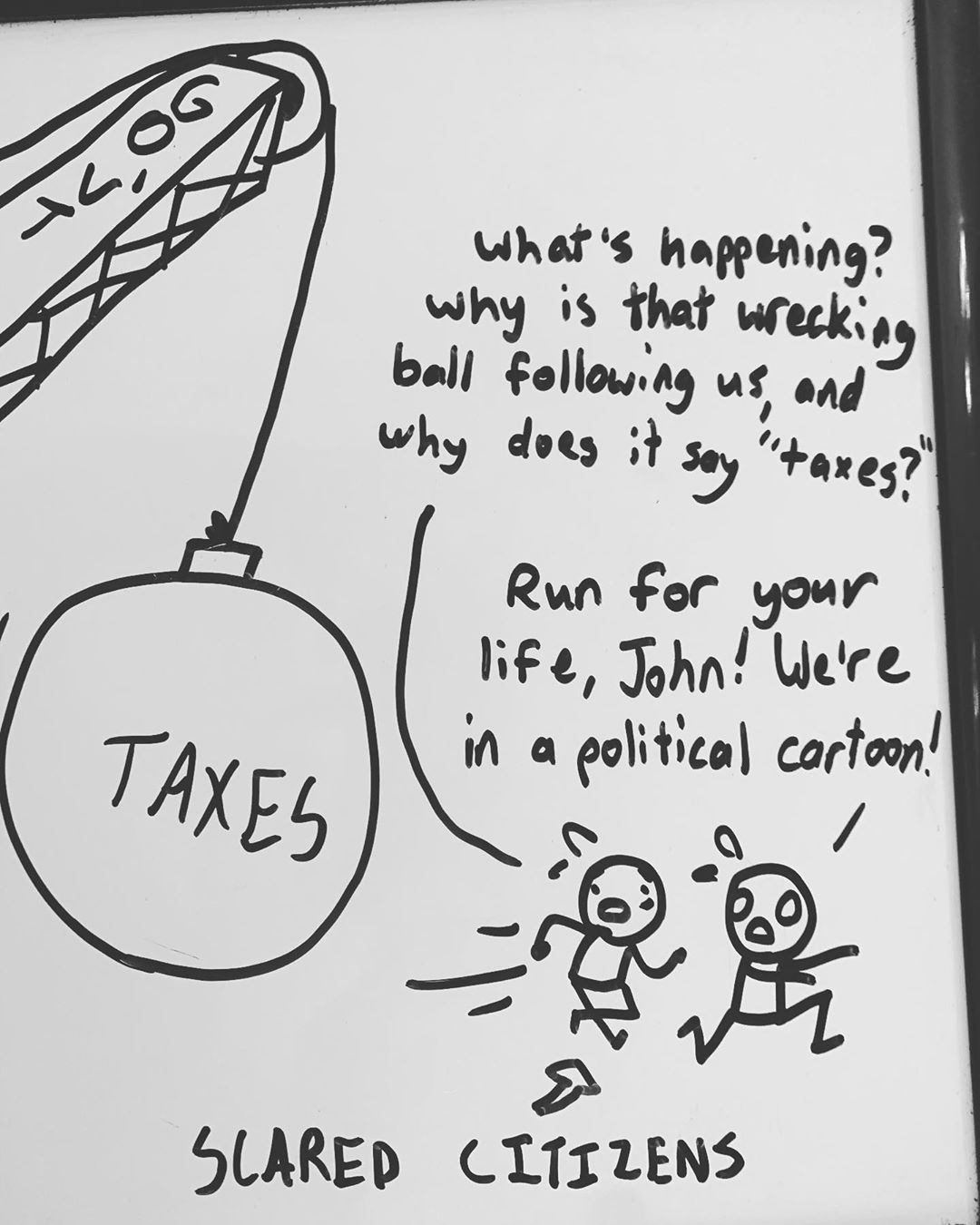 A comic from my 14yo son's whiteboard