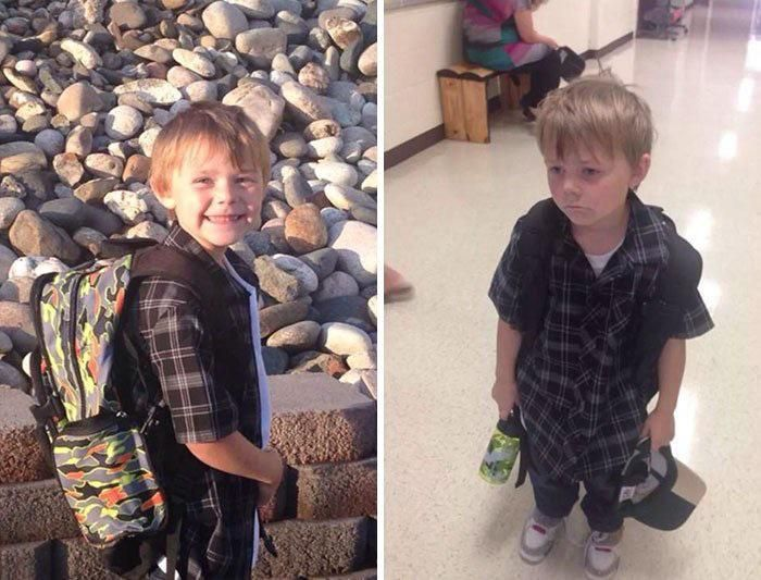 Before and after the first day of school.