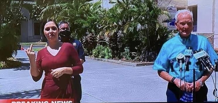 """During our Mayor's coronavirus press conference in Honolulu today someone from the crowd yelled """"*** you!"""" and the ASL interpreter was happy to translate."""