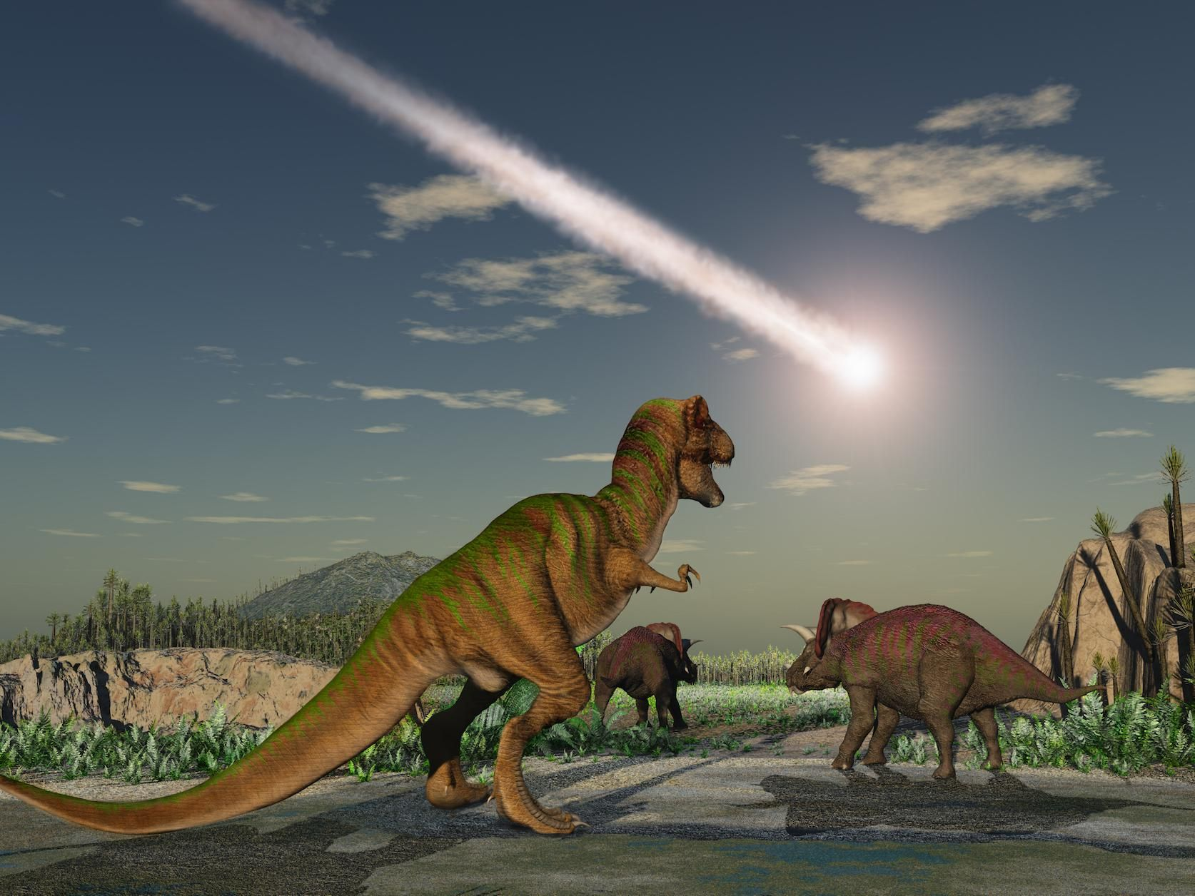 T-Rex shares gender reveal party with friends. Yucatan Peninsula, 66 million years ago.