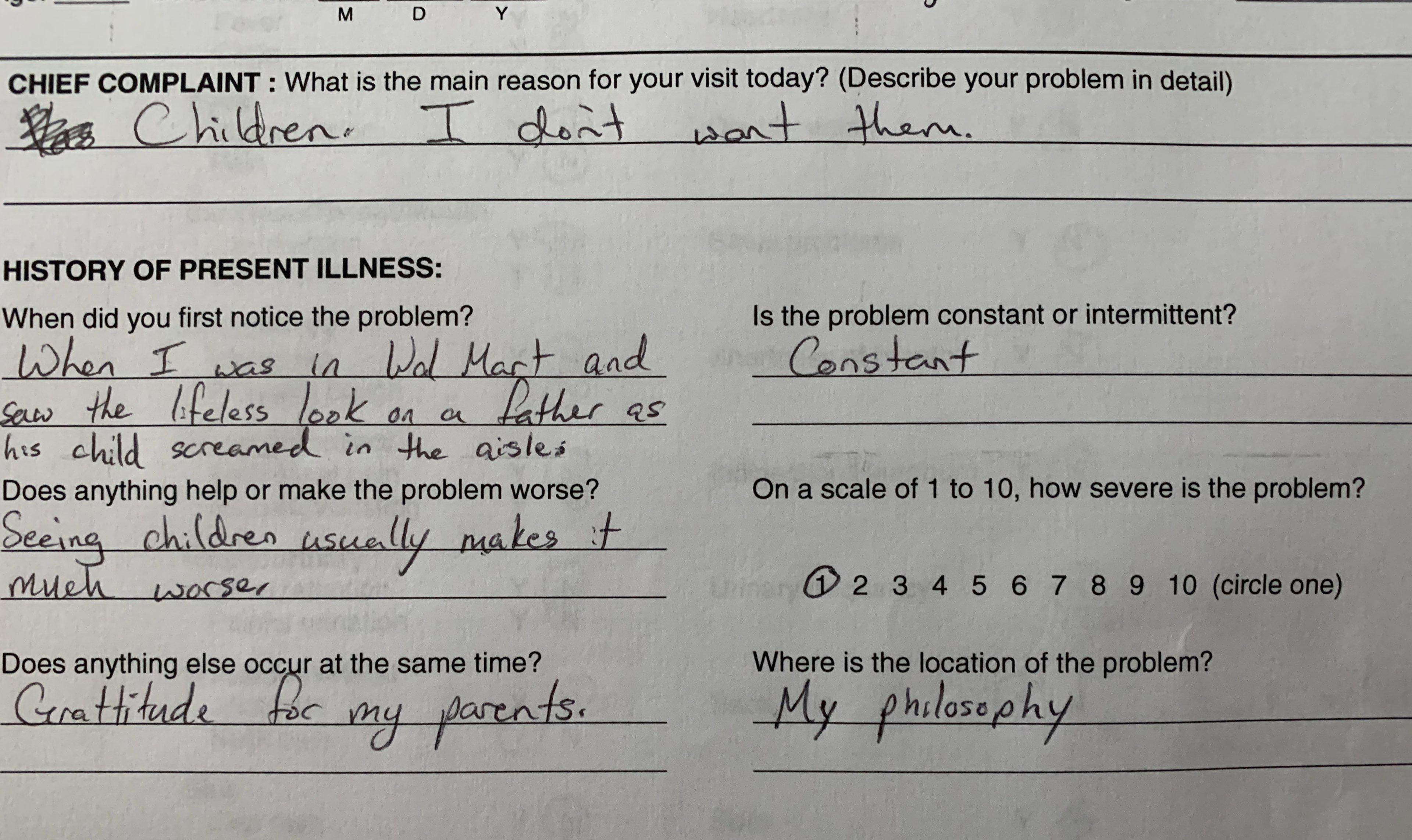 Fiance is going in for a vasectomy today. This is his official paperwork.