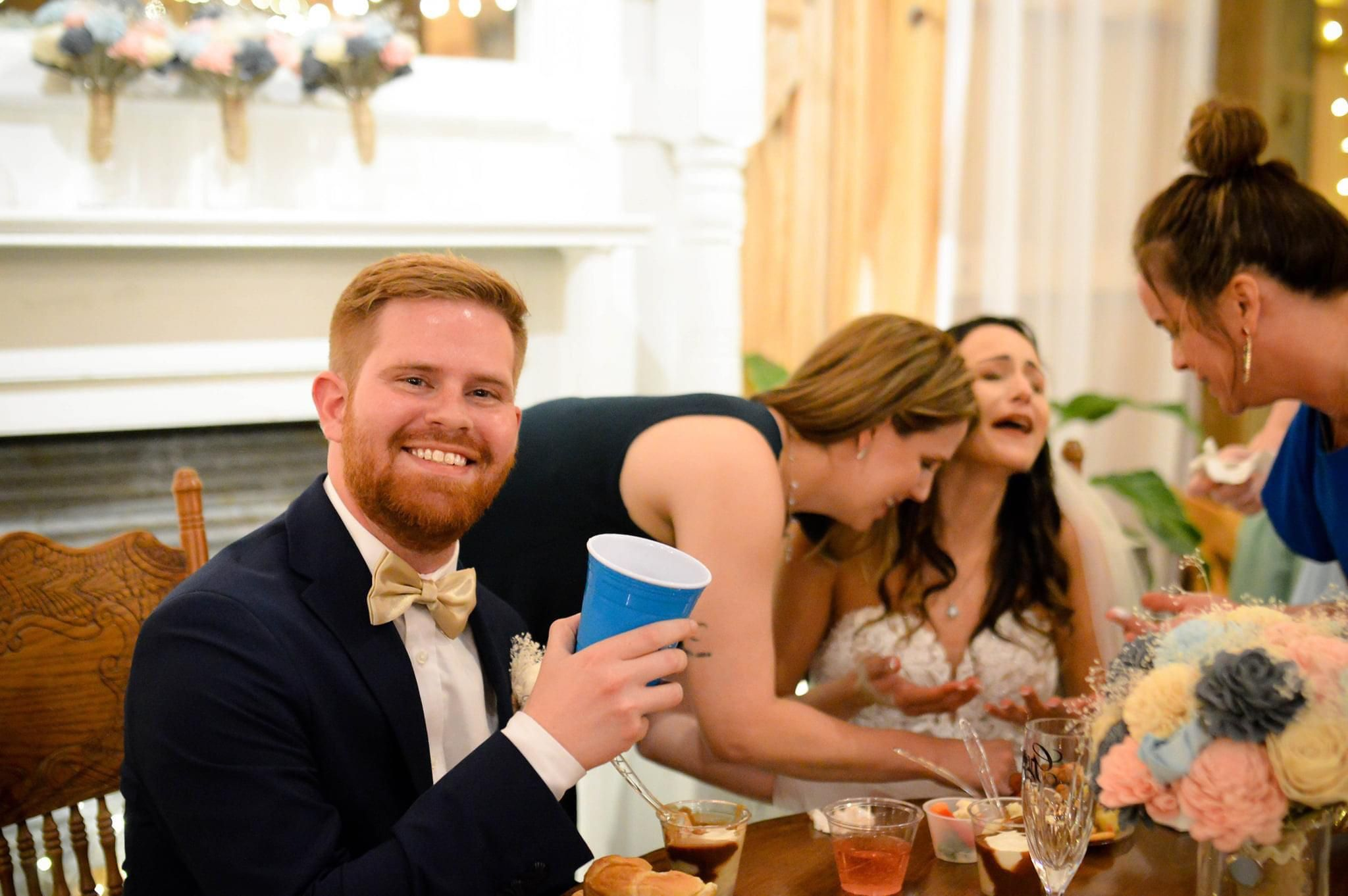 SIL got married, this is the second she realized she got BBQ sauce on her dress. Hubby still golden.