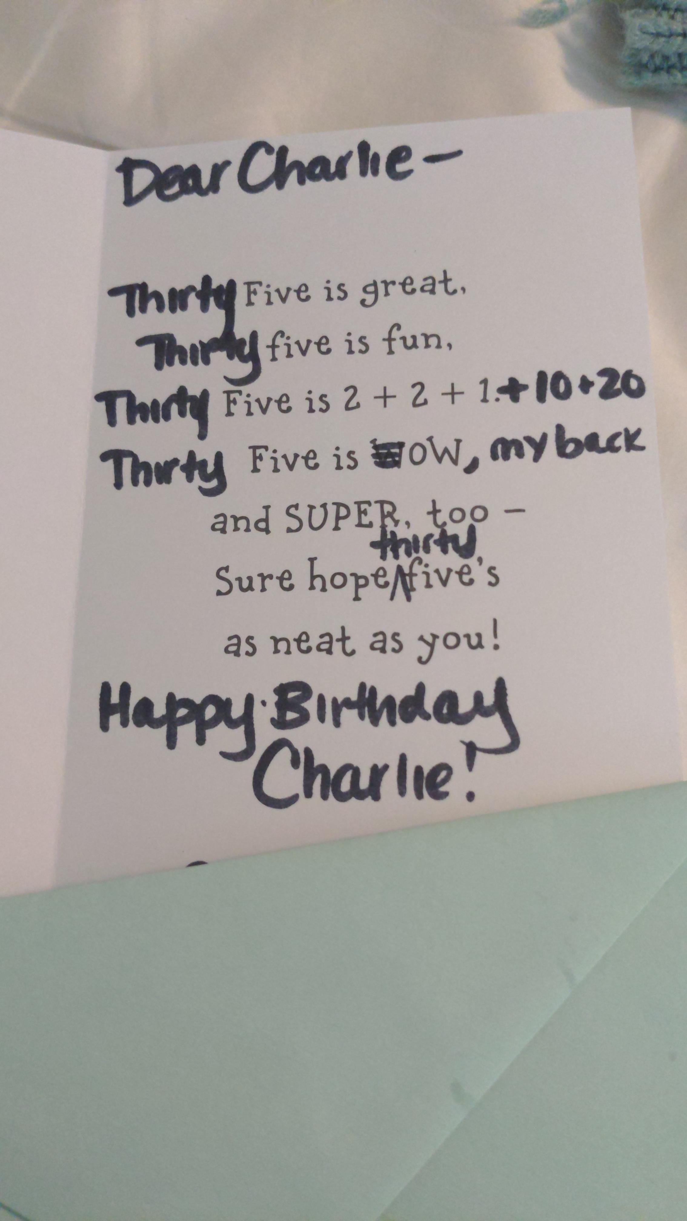 Wife modified a 5yo birthday card for my brother's 35th