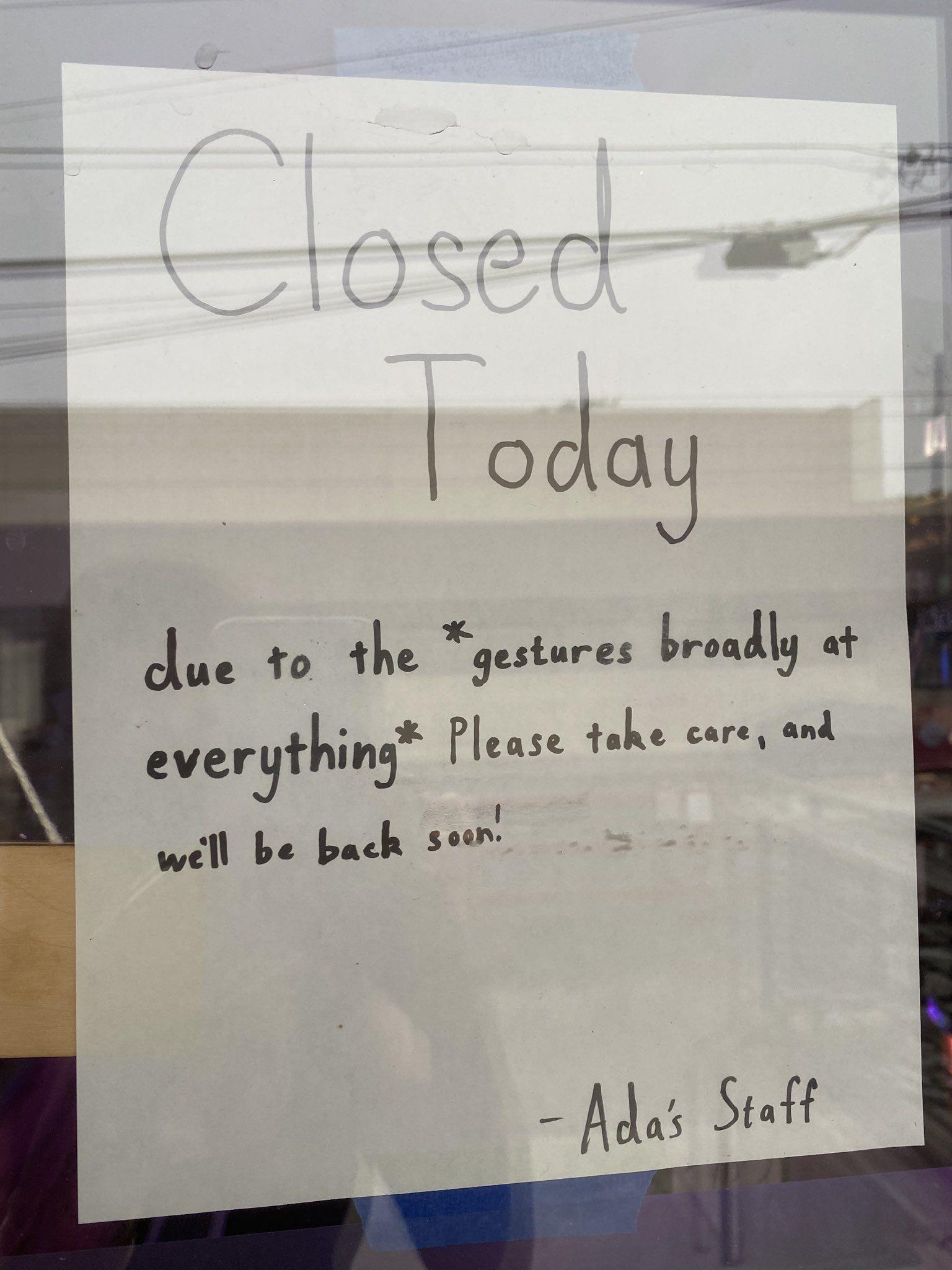 Bookstore's Closed Sign in Seattle