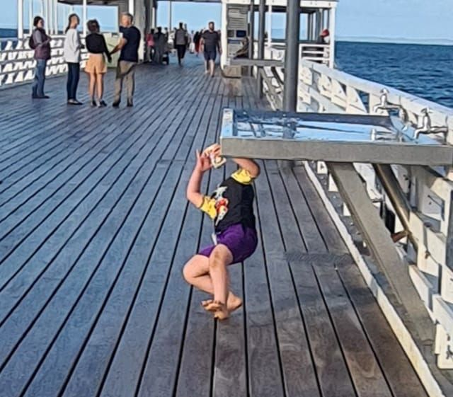 Wife tried to snap a pic of our 5yo running towards her on the pier. He was too focused on his juicebox and didn't see the stainless steel fishing table.