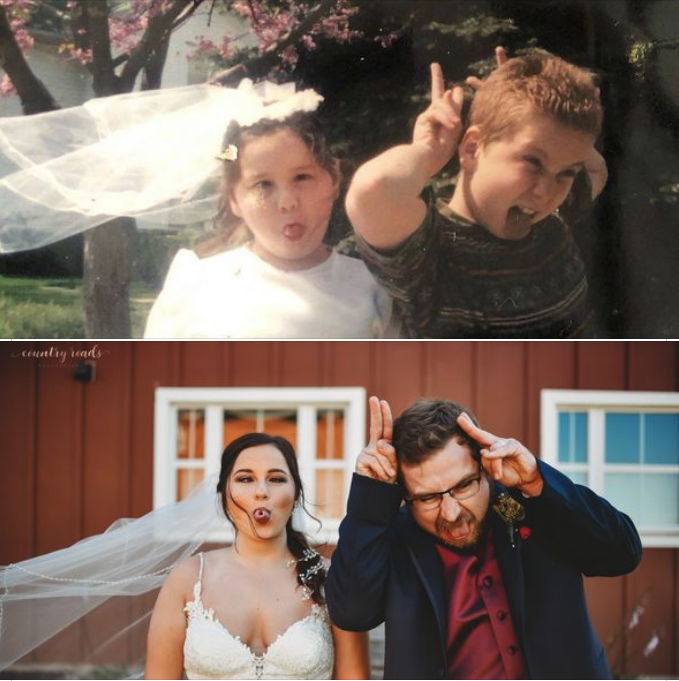 My sister got married over the weekend, so we recreated this gem from our childhood.