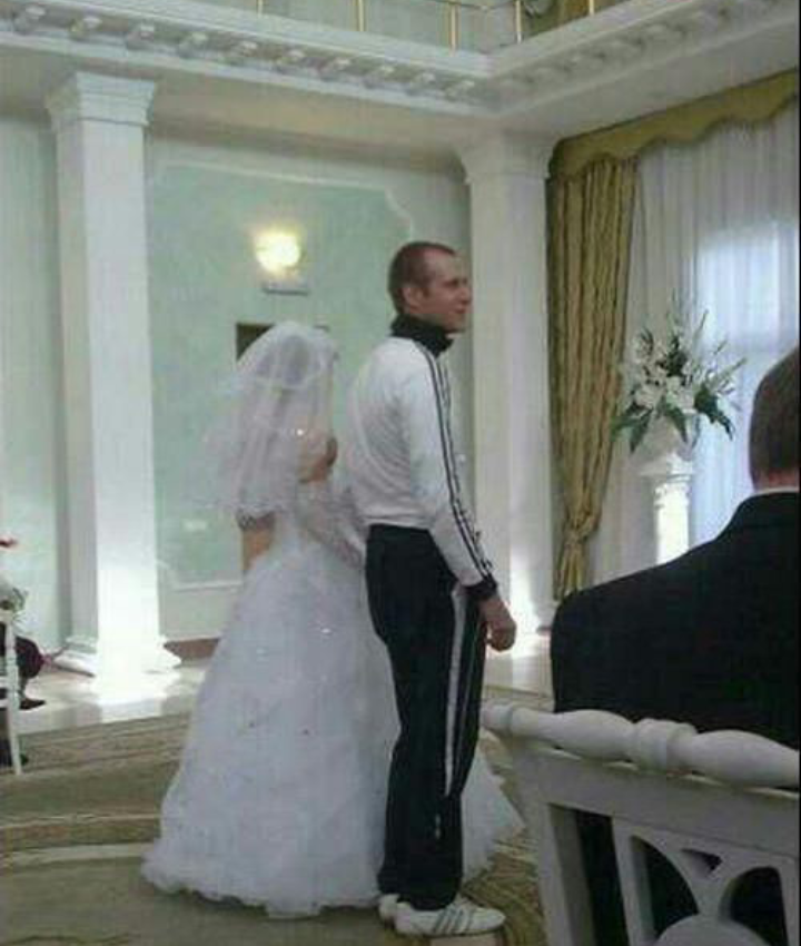 Wearing your tracksuit to your wedding, oh Russia