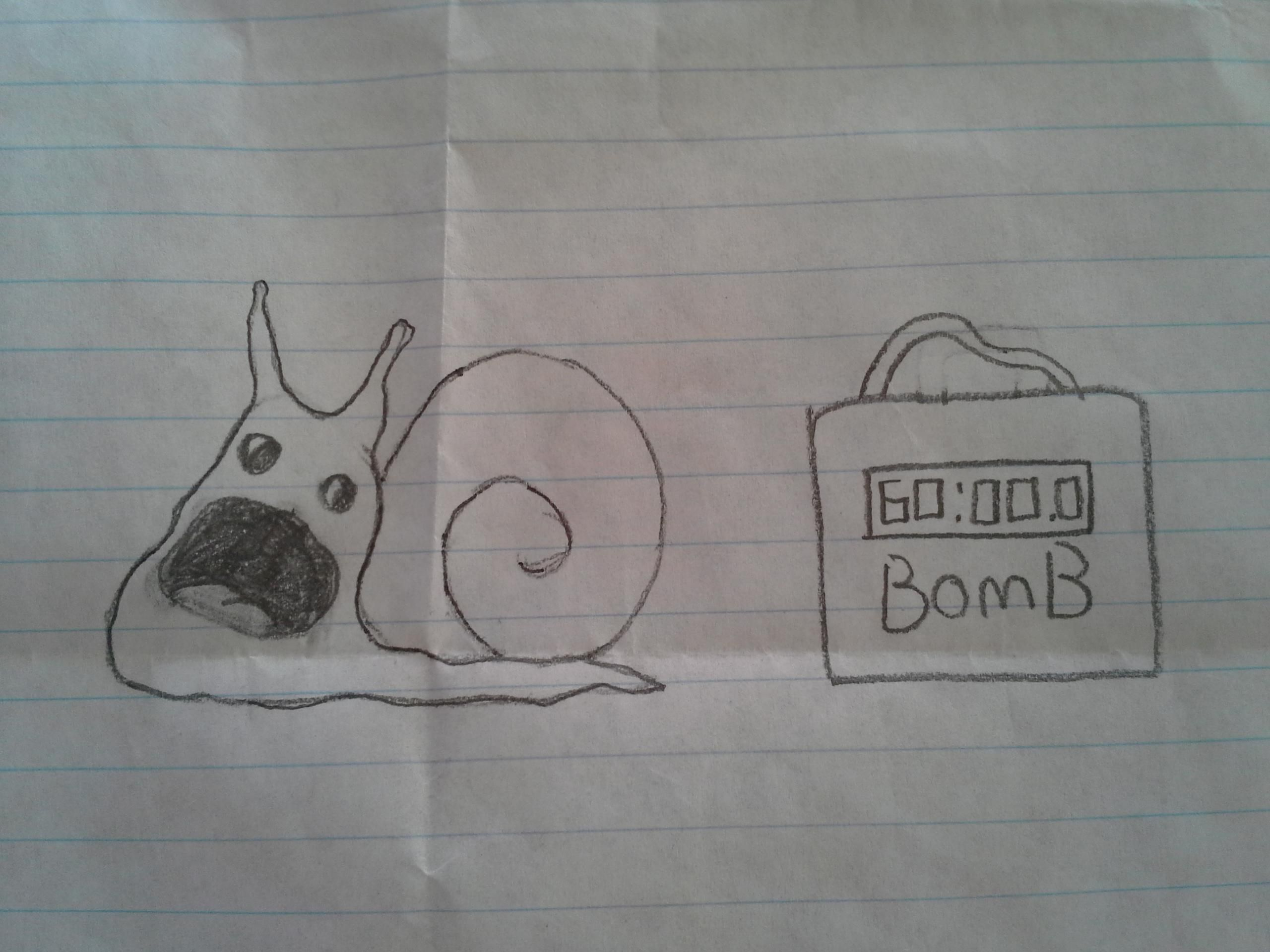 My son drew this in 5th grade. Perhaps I'm biased but I thought it was clever and funny.