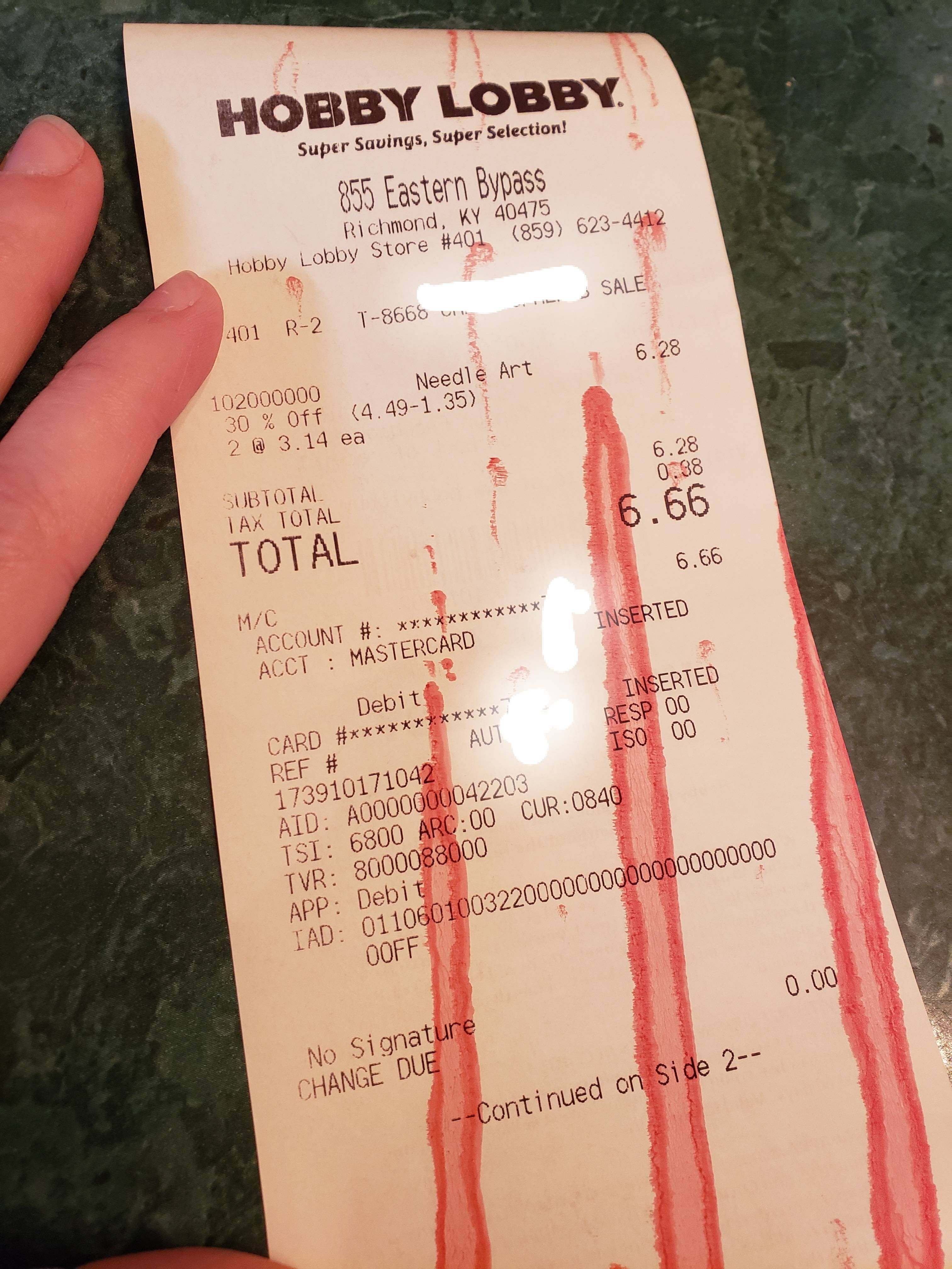 Fun Fact: when a Hobby Lobby purchase rings up $6.66 it receives the Mark of the Beast!
