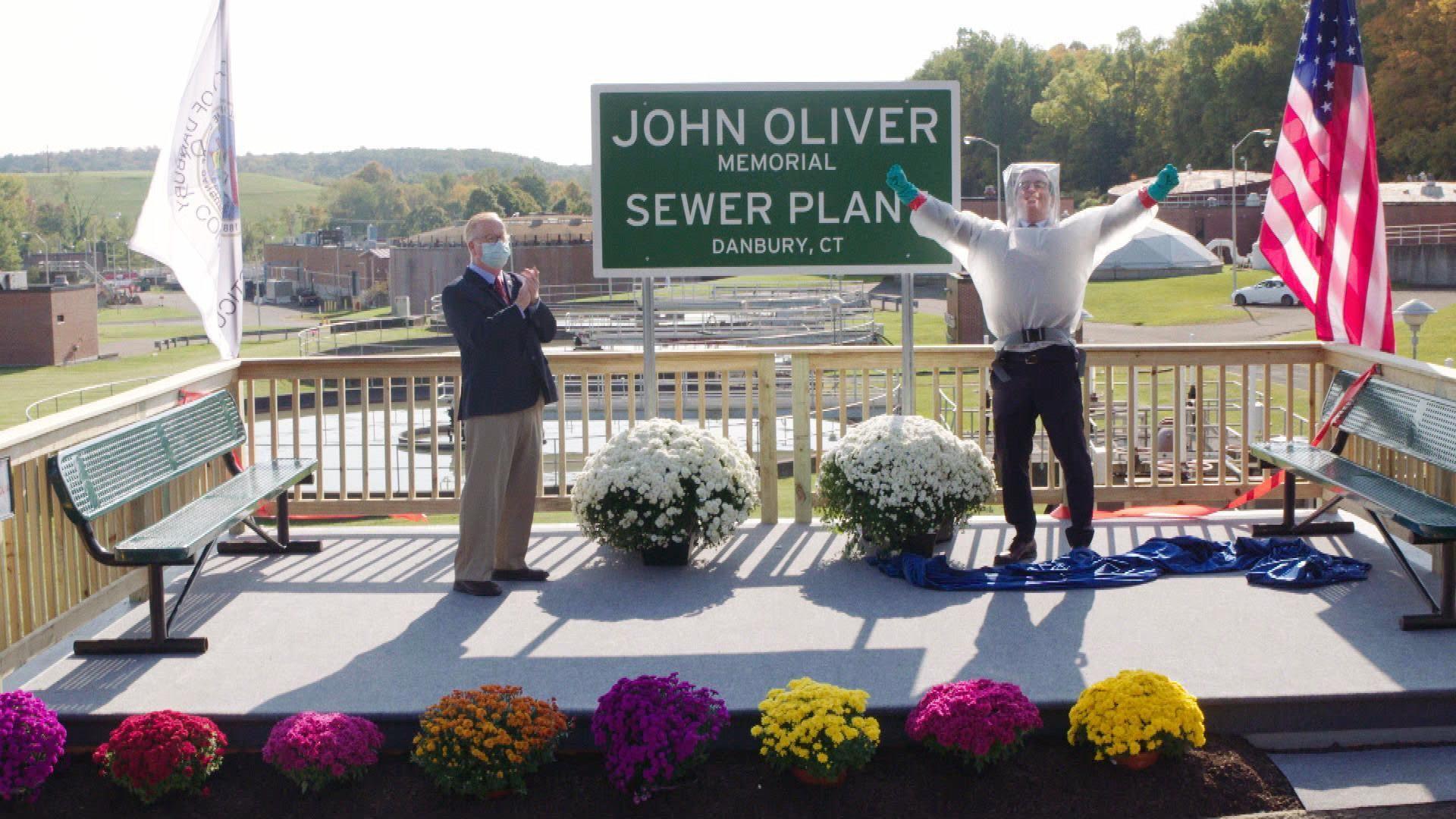 John Oliver visits Danbury sewage plant named in his honor