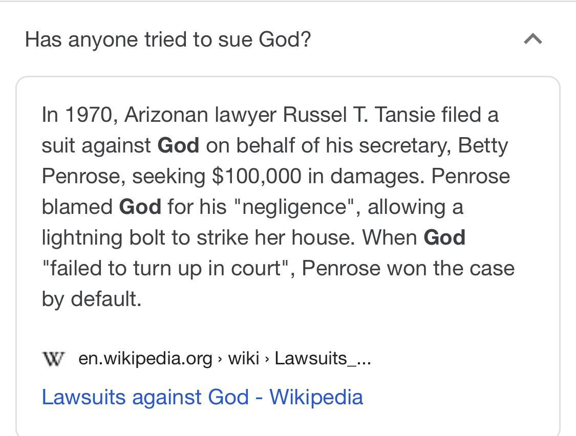 Obviously it's gods fault mr judge.