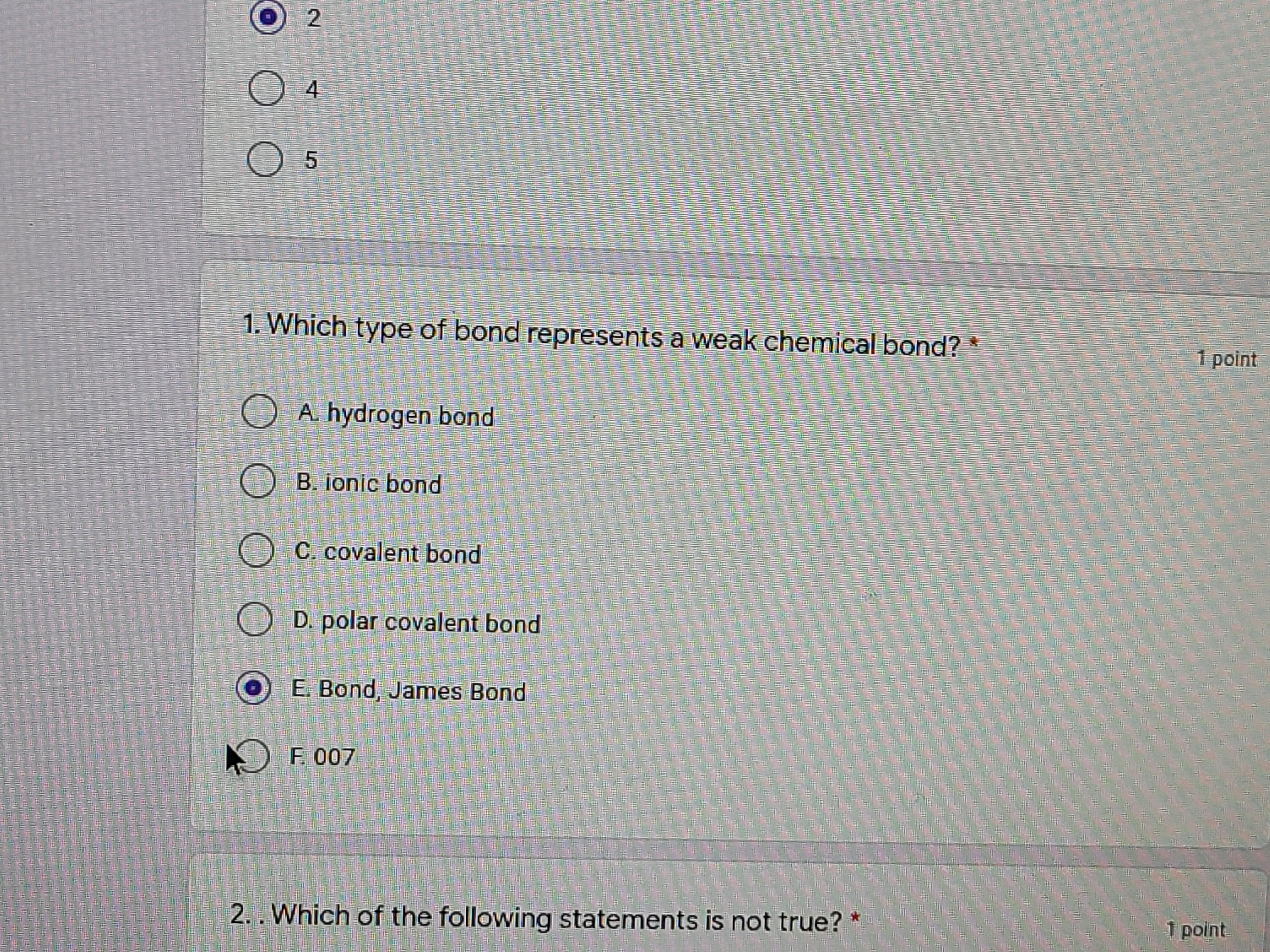 My science quiz today