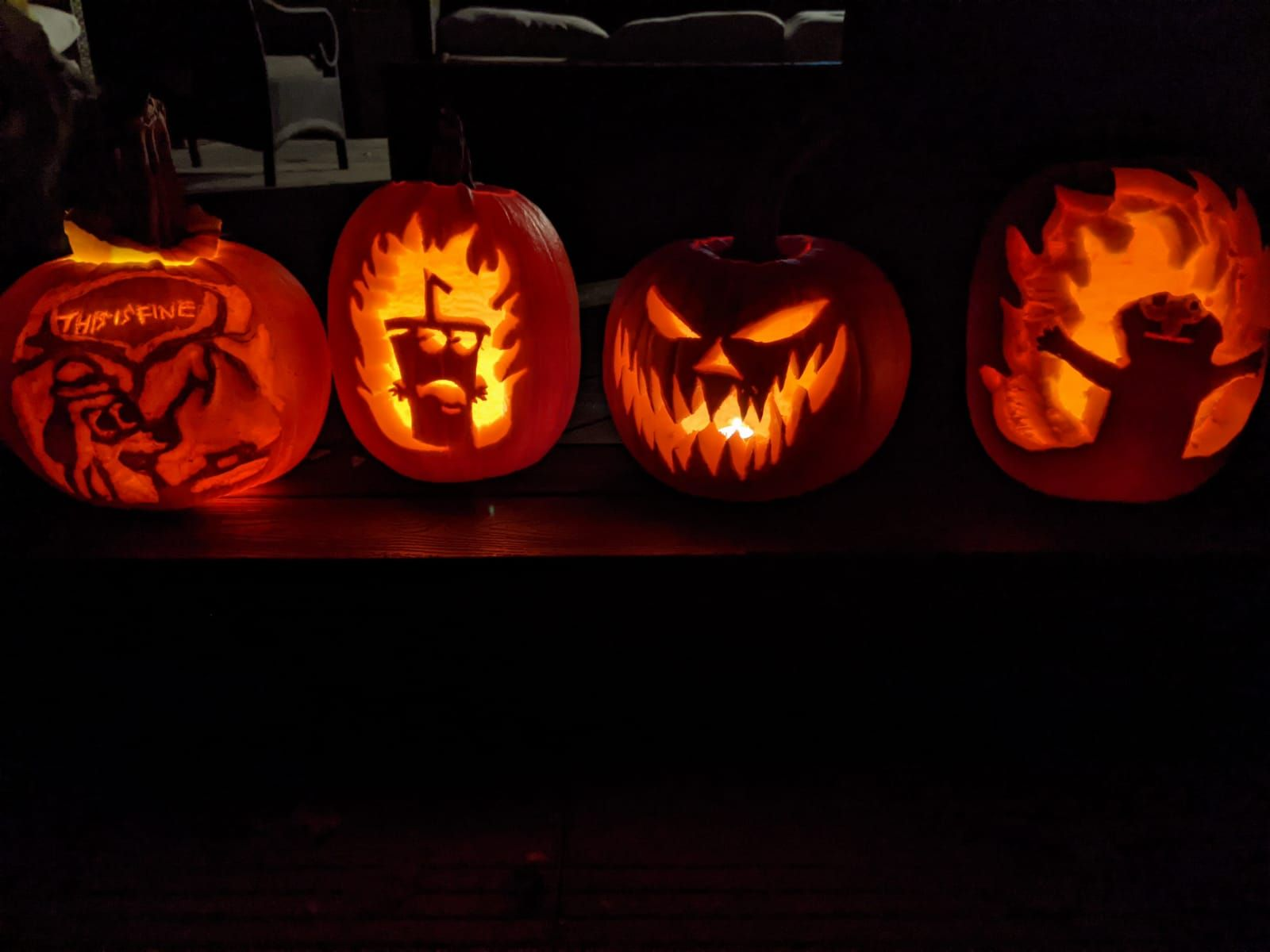 Not sure if this really counts for this sub but I find a few of our pumpkins for this Halloween funny