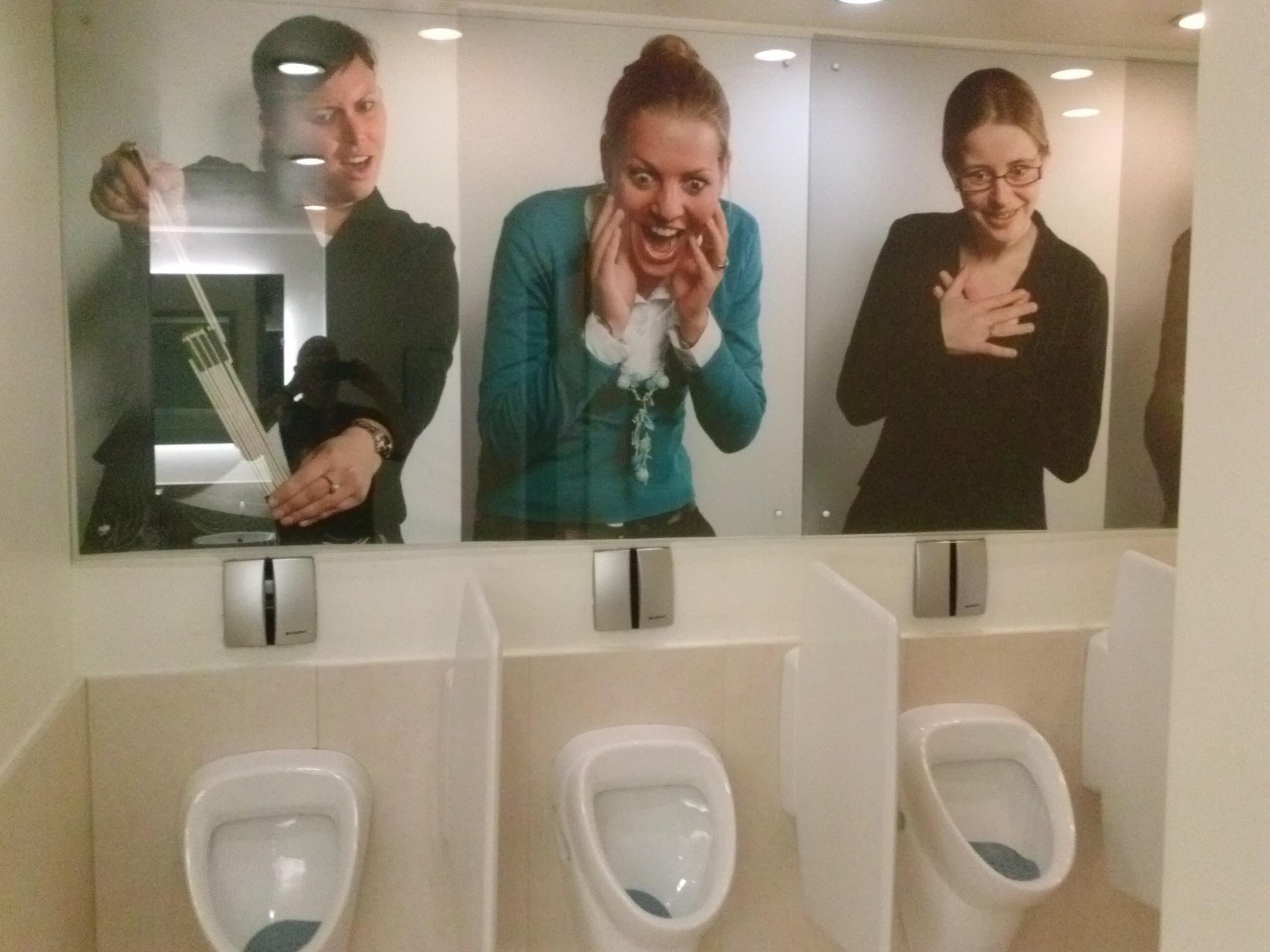 These ladies were in the men's room in Belgium!
