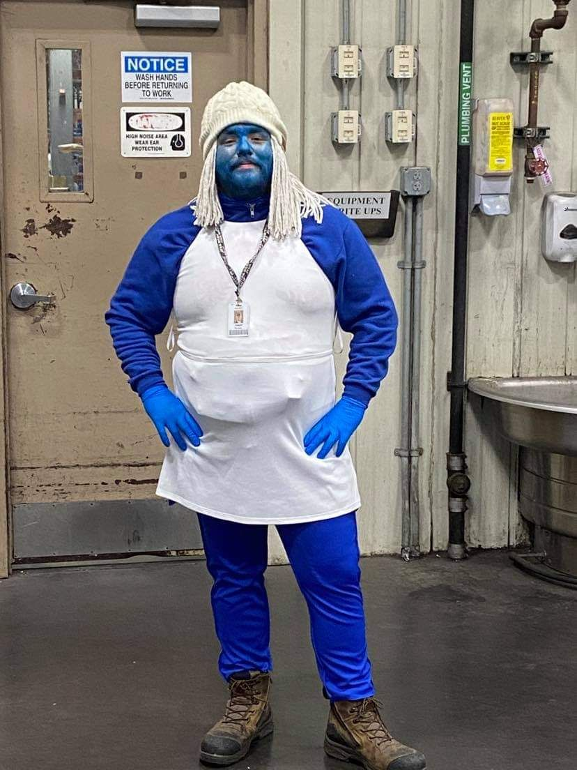 All of my coworkers agreed to dress up as smurfs for Halloween. Im the only one to go through with it.