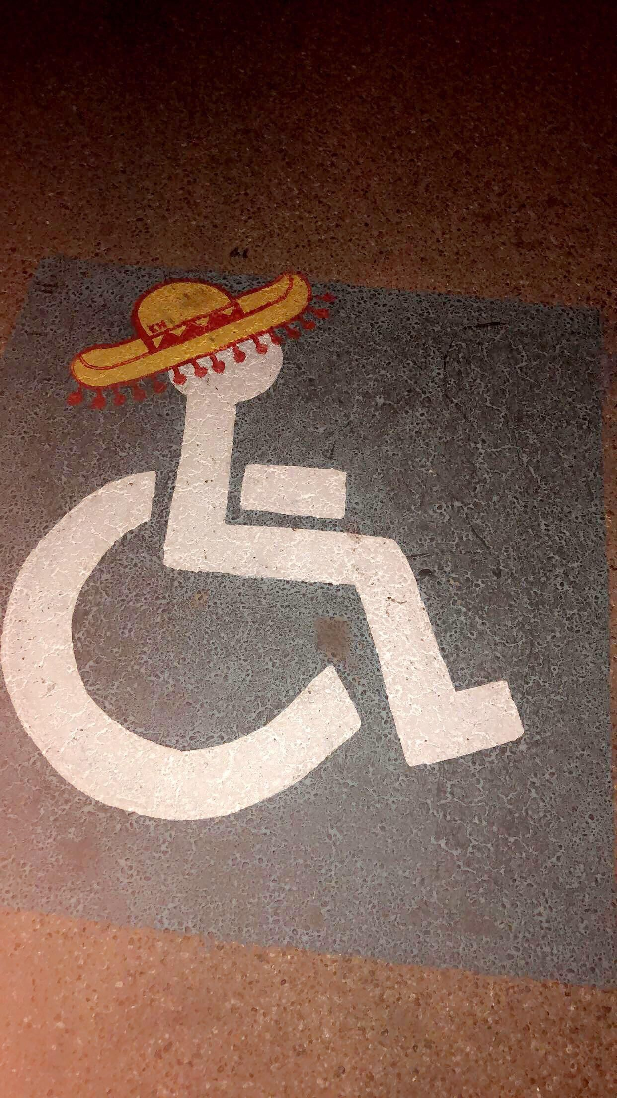 The handicap spots have sombreros at my local Mexican restaurant.