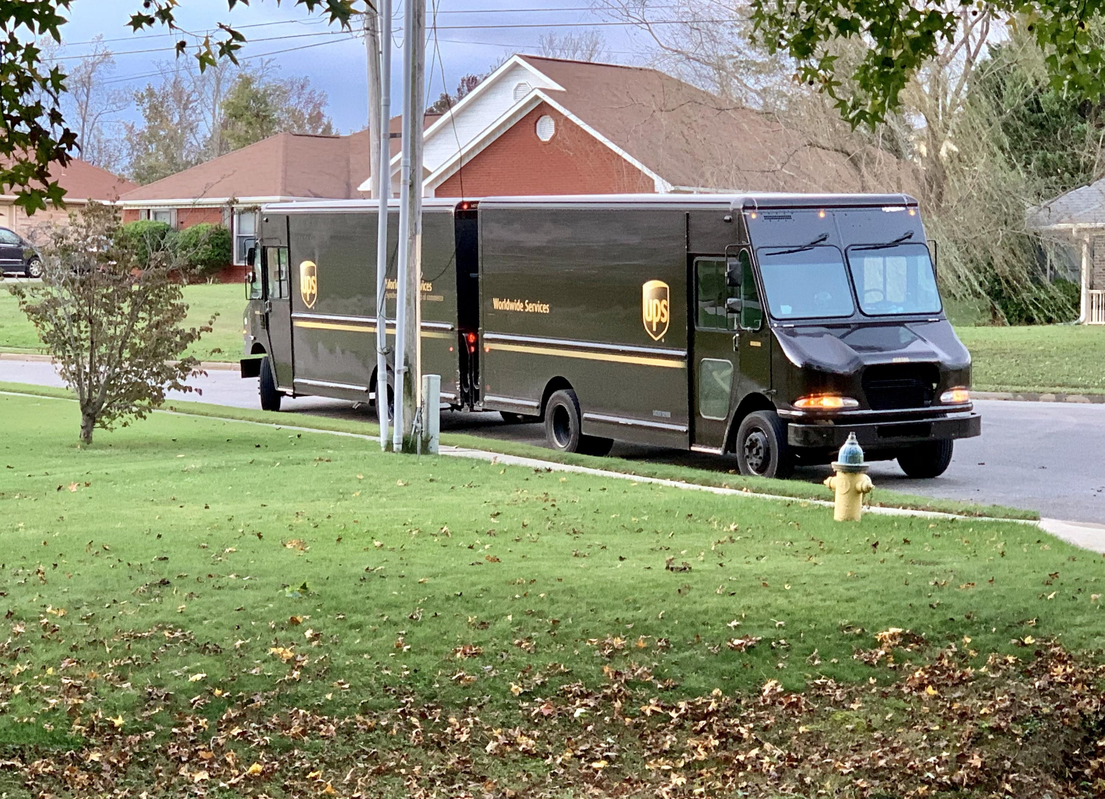 Today we witnessed the rare mating ritual of the UPS truck.