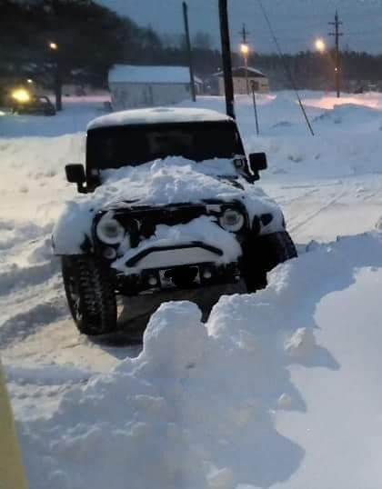 My bud's jeep is not happy that winter is here...
