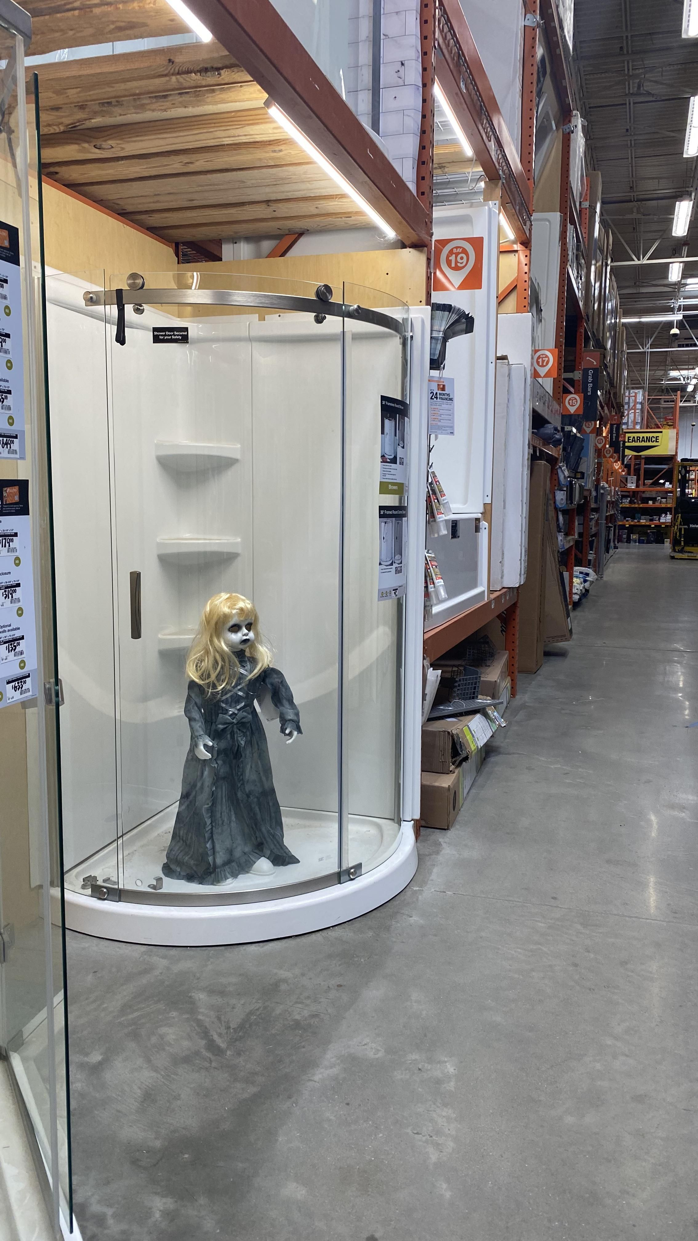 Relocating Home Depot Halloween decorations.
