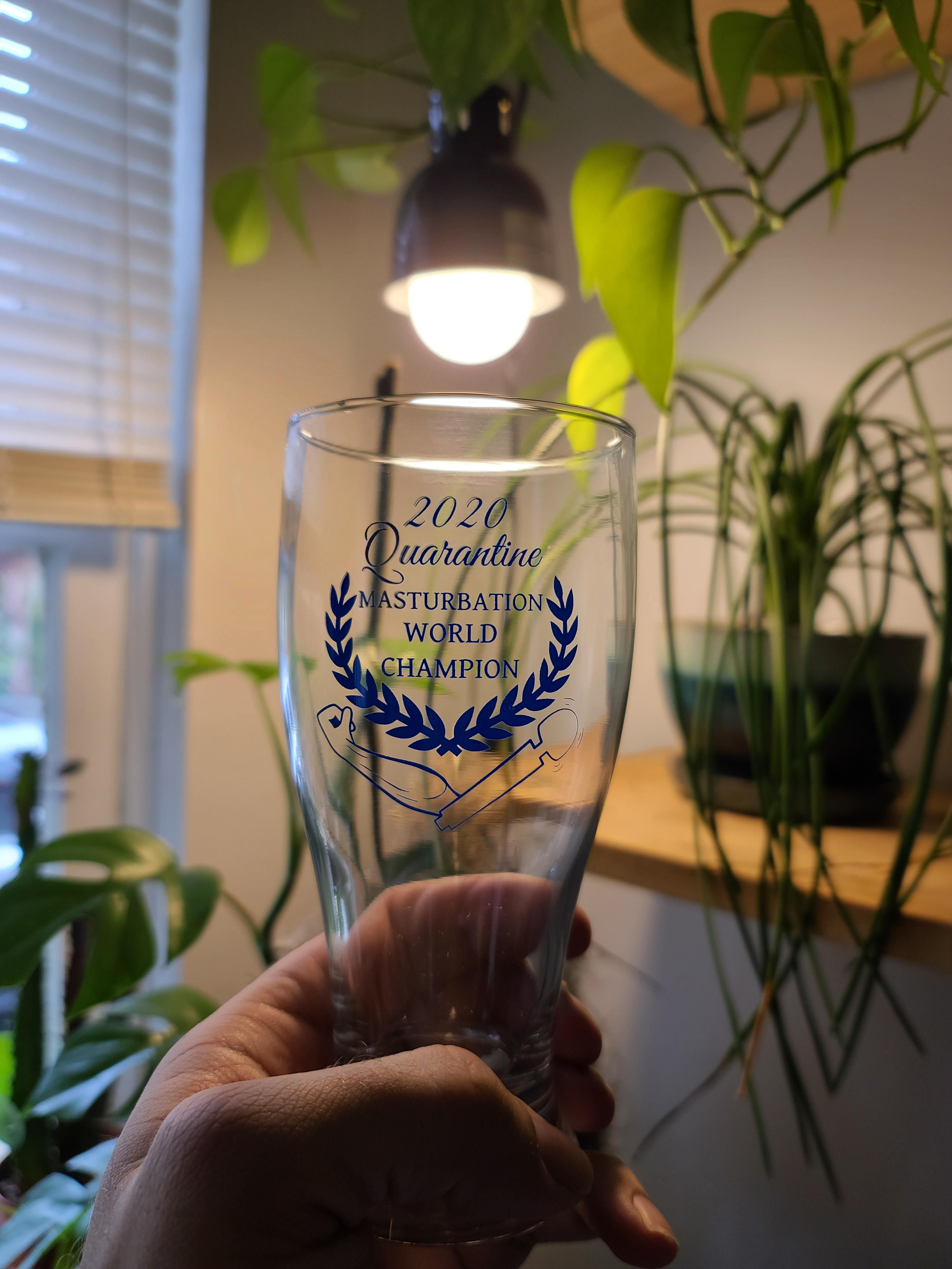 My new quarantine beer glass has arrived. Anyone want to compete for the title?