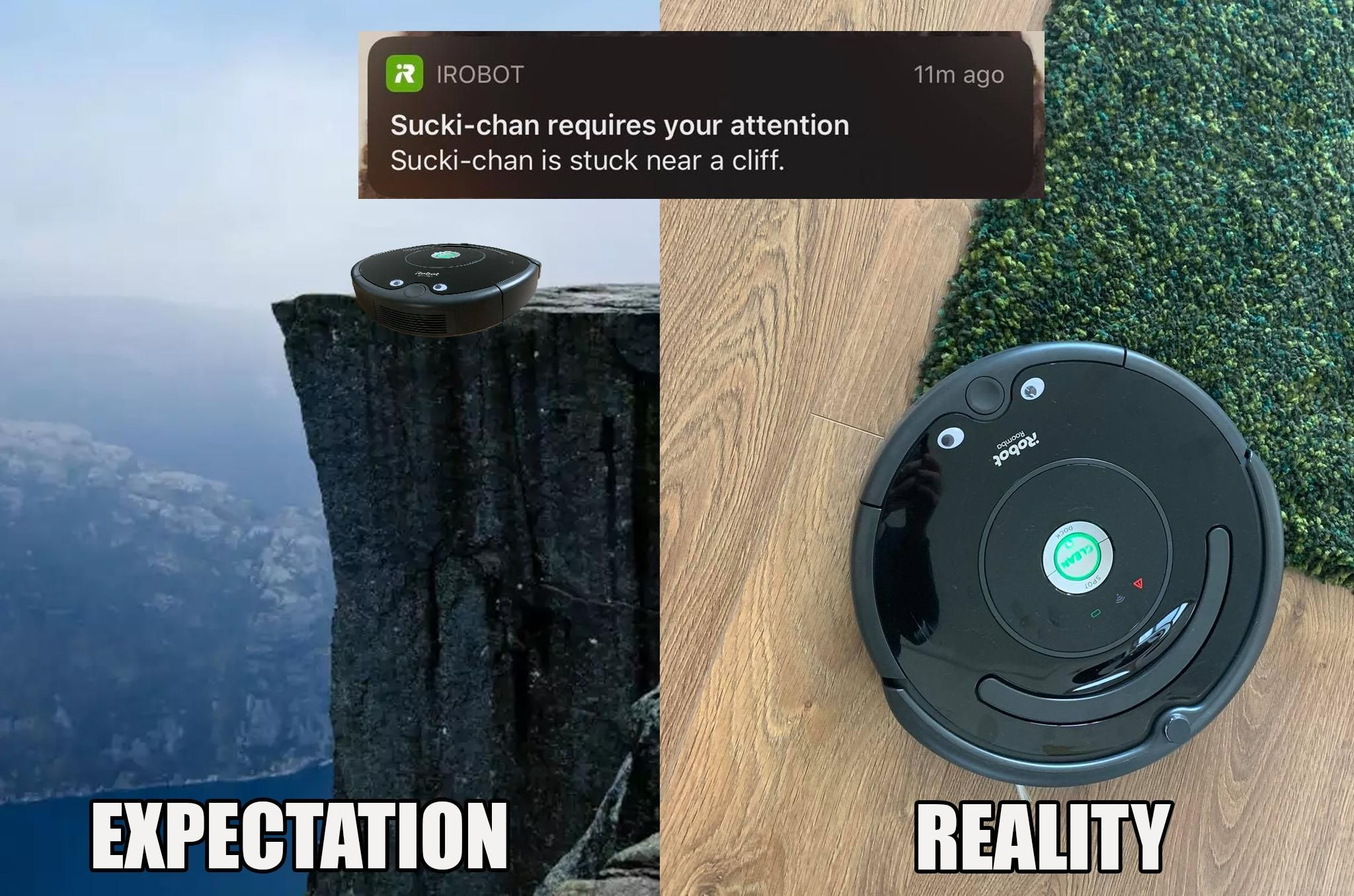 My roomba is suck near a cliff