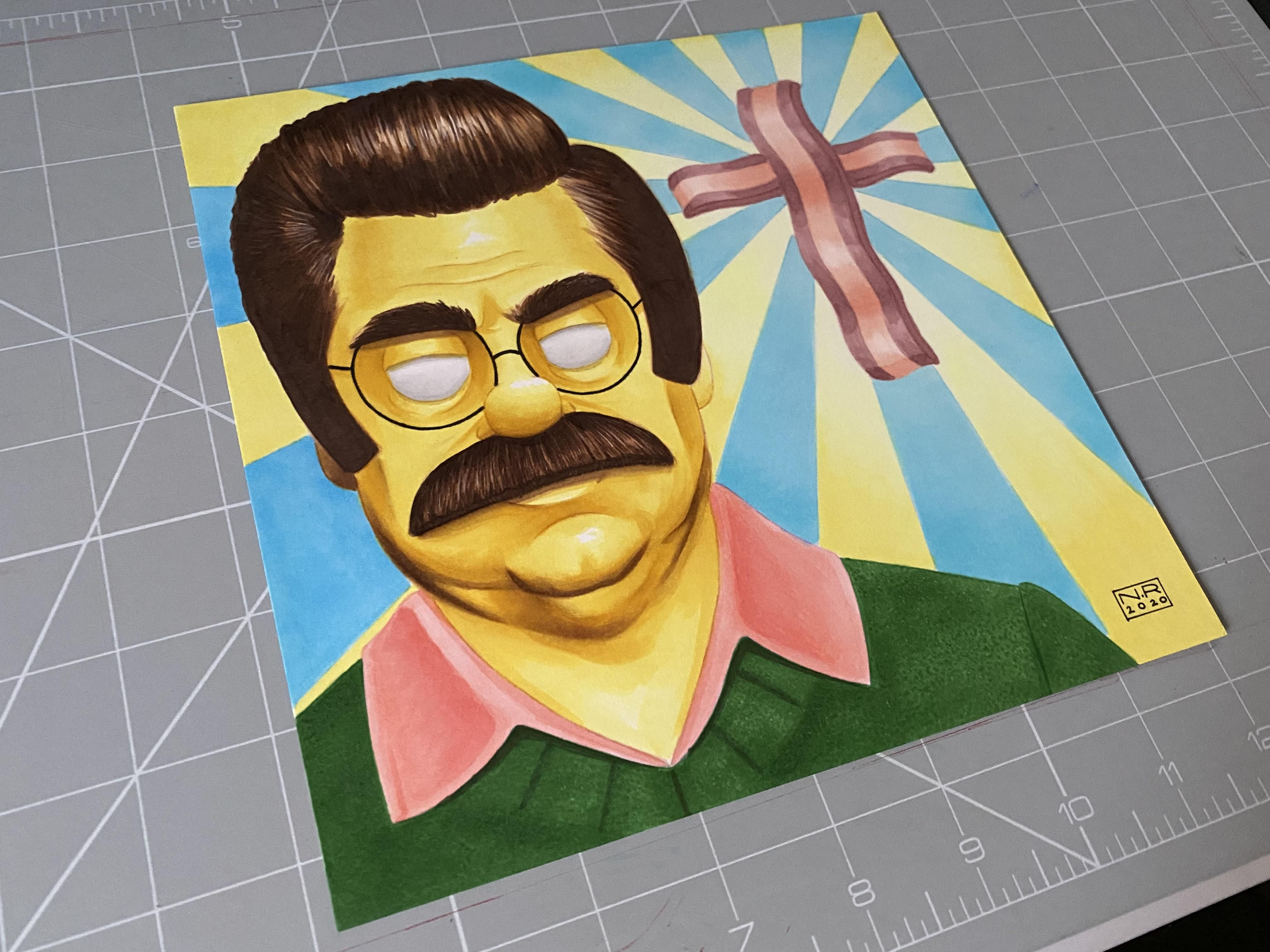 My latest marker piece. Not sure if his name should be Ron Flanders or Ned Swanson. Either way, dude loves bacon.