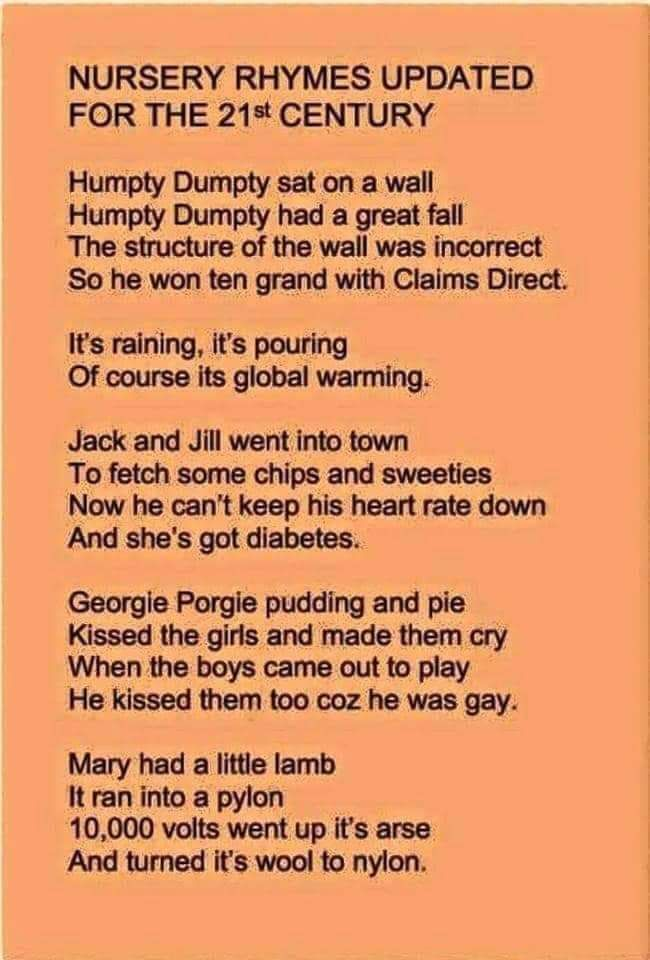 A updated take on some of our childhood rhymes.