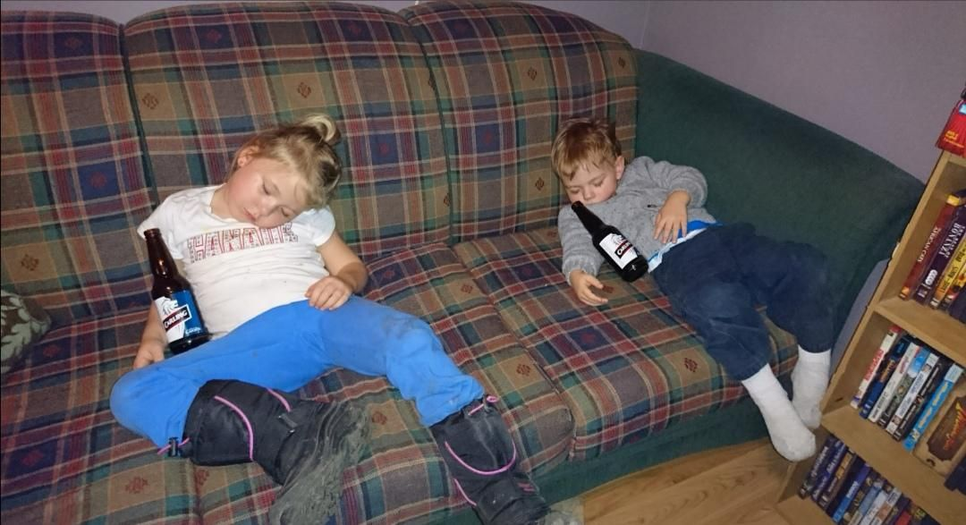 My niece and nephew passed out, added empty beer bottles, turned out great I think lol