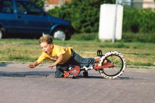 A picture of me falling from my bike as a kid