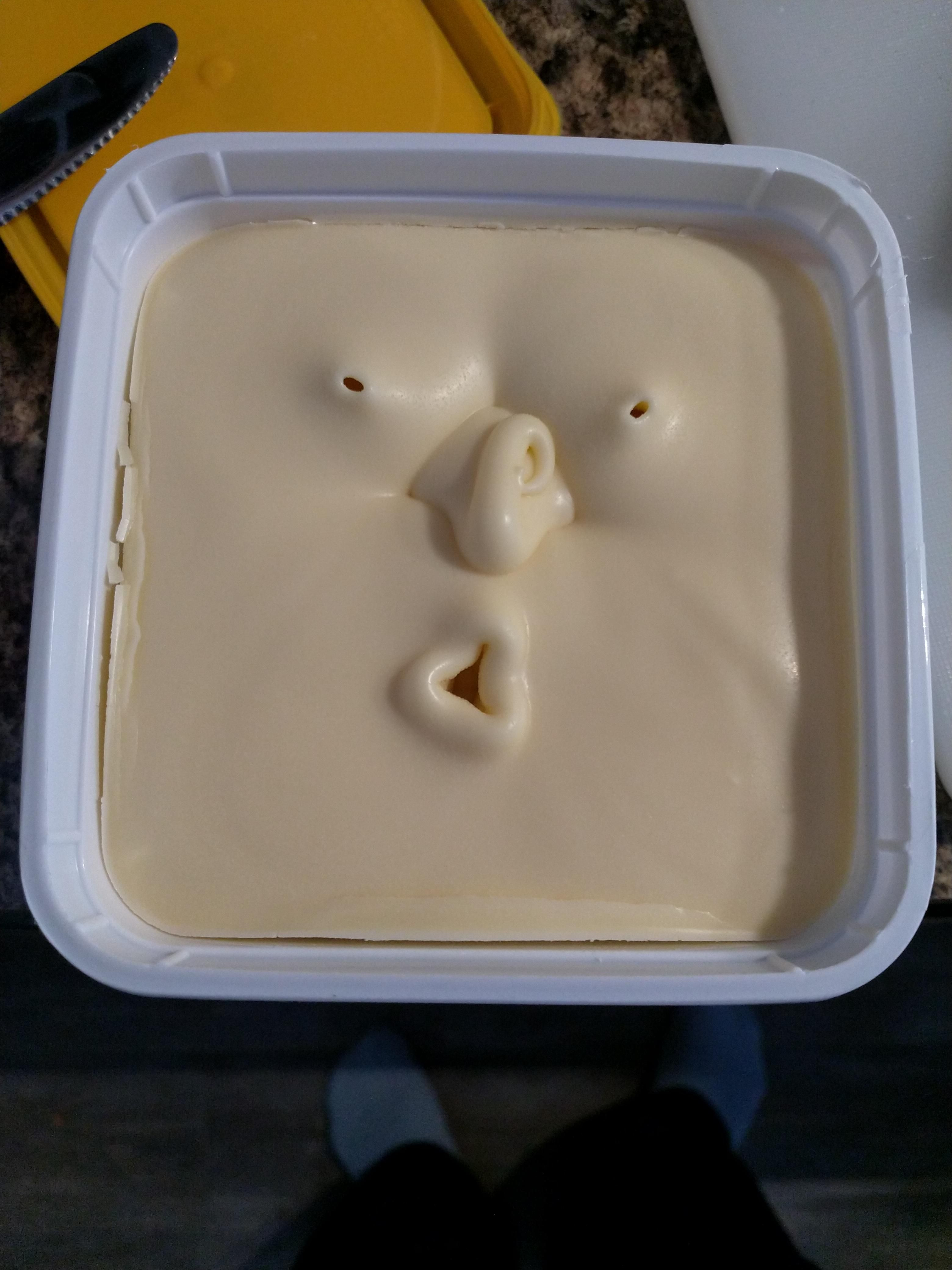My Butter on seeing my ugly face first thing in the morning.