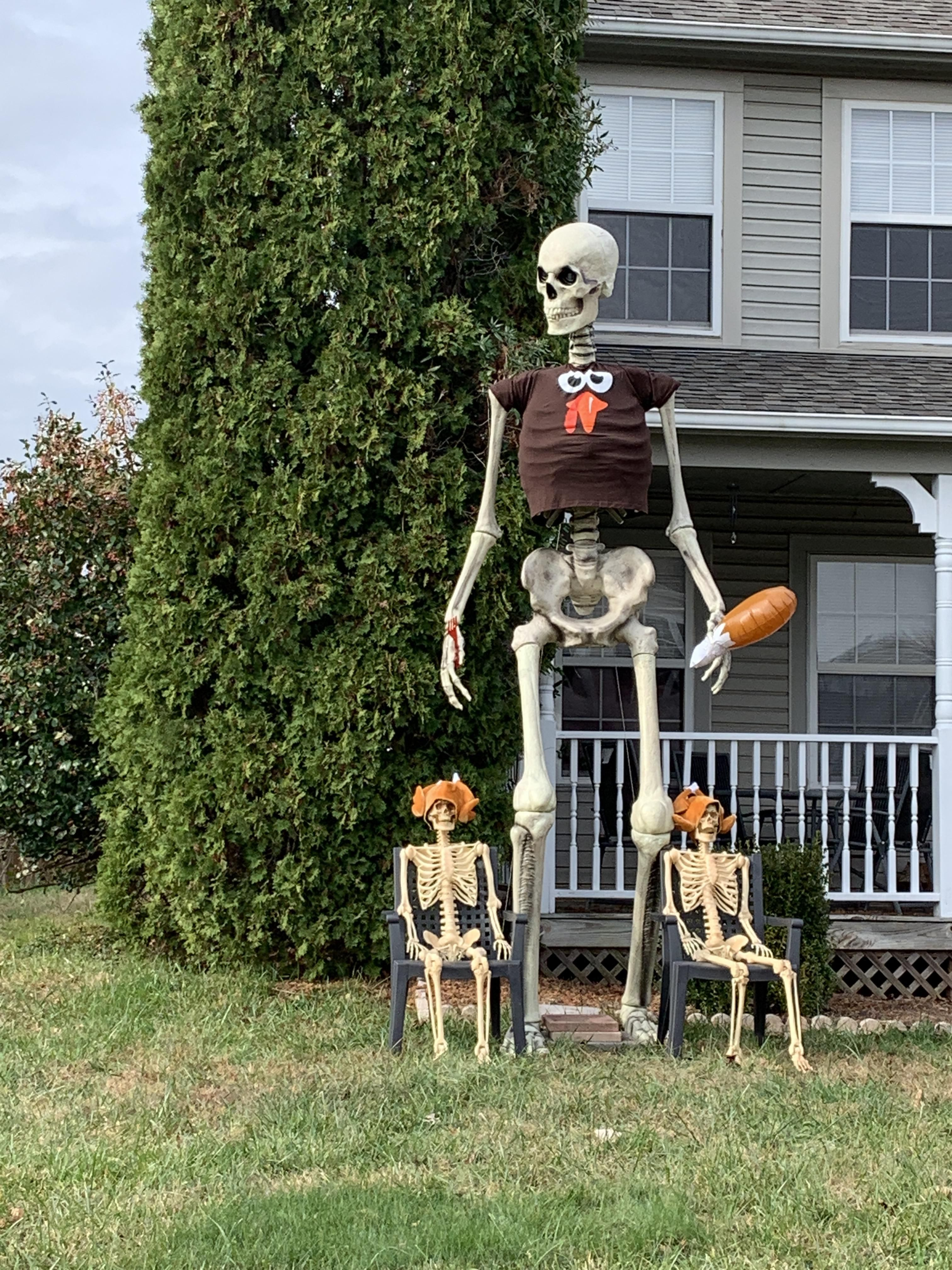 My neighbors getting their money's worth on their giant skeleton